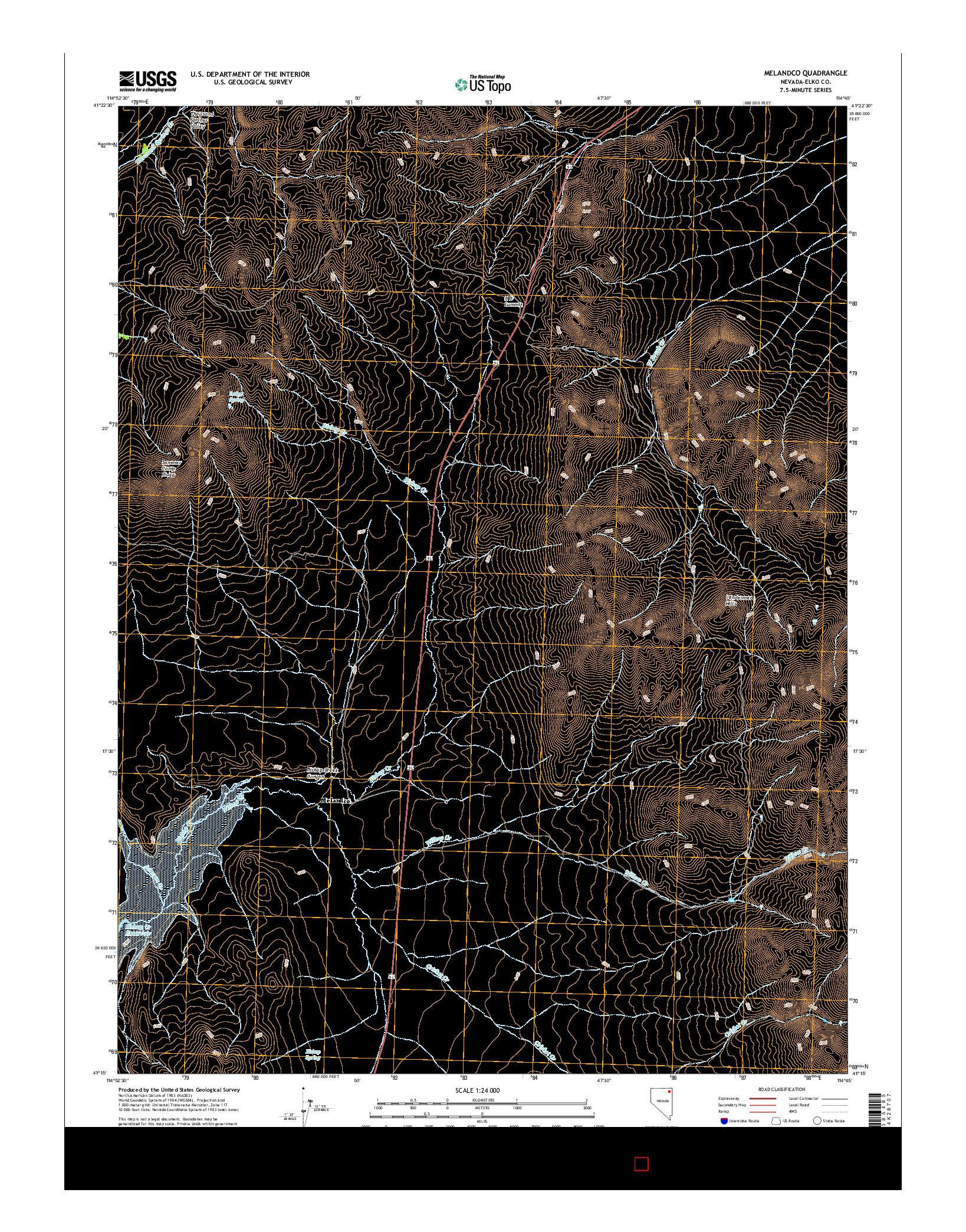 USGS US TOPO 7.5-MINUTE MAP FOR MELANDCO, NV 2014