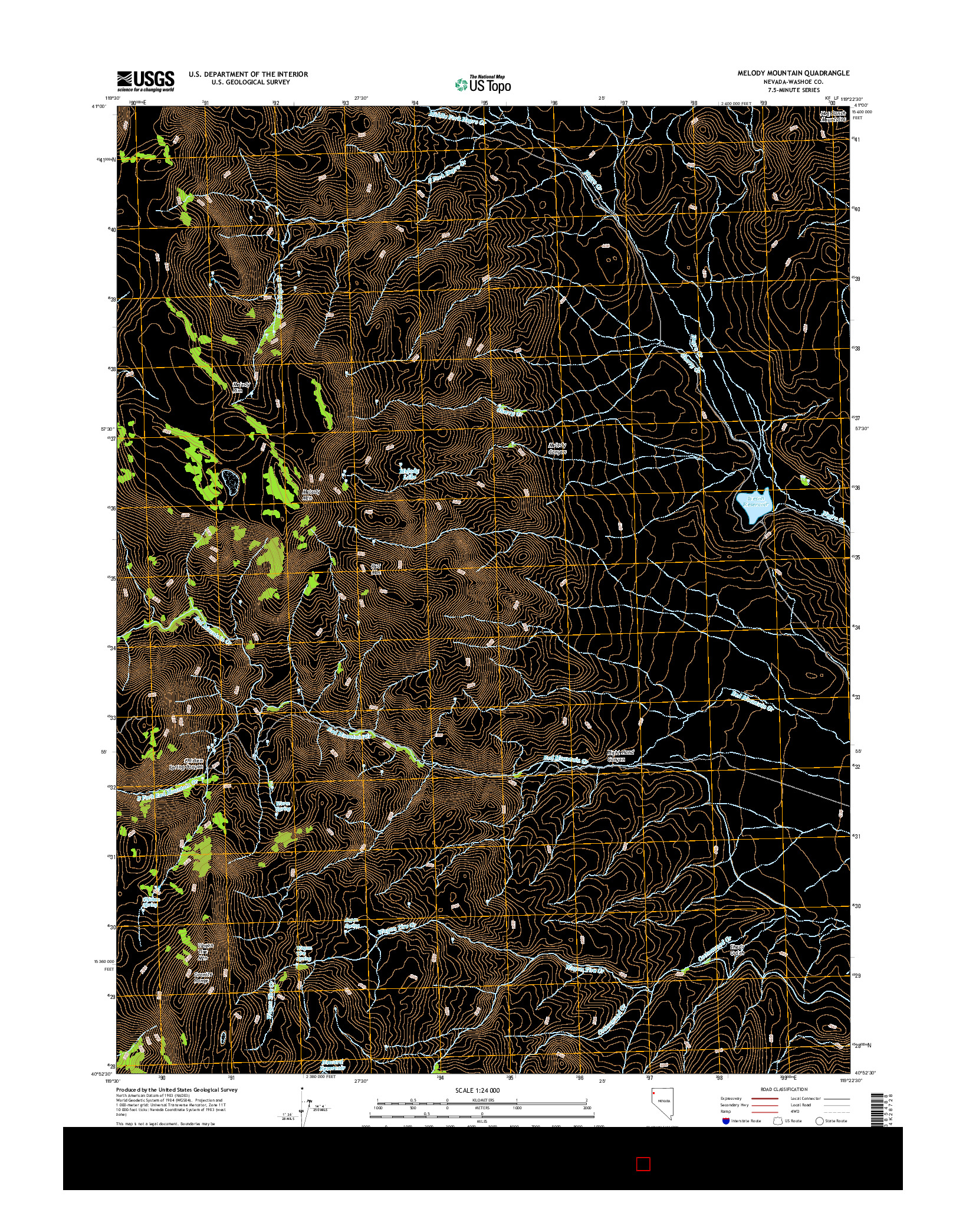 USGS US TOPO 7.5-MINUTE MAP FOR MELODY MOUNTAIN, NV 2014