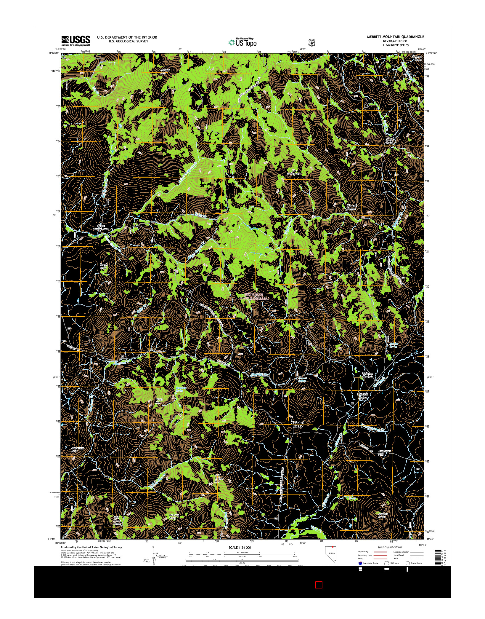 USGS US TOPO 7.5-MINUTE MAP FOR MERRITT MOUNTAIN, NV 2014
