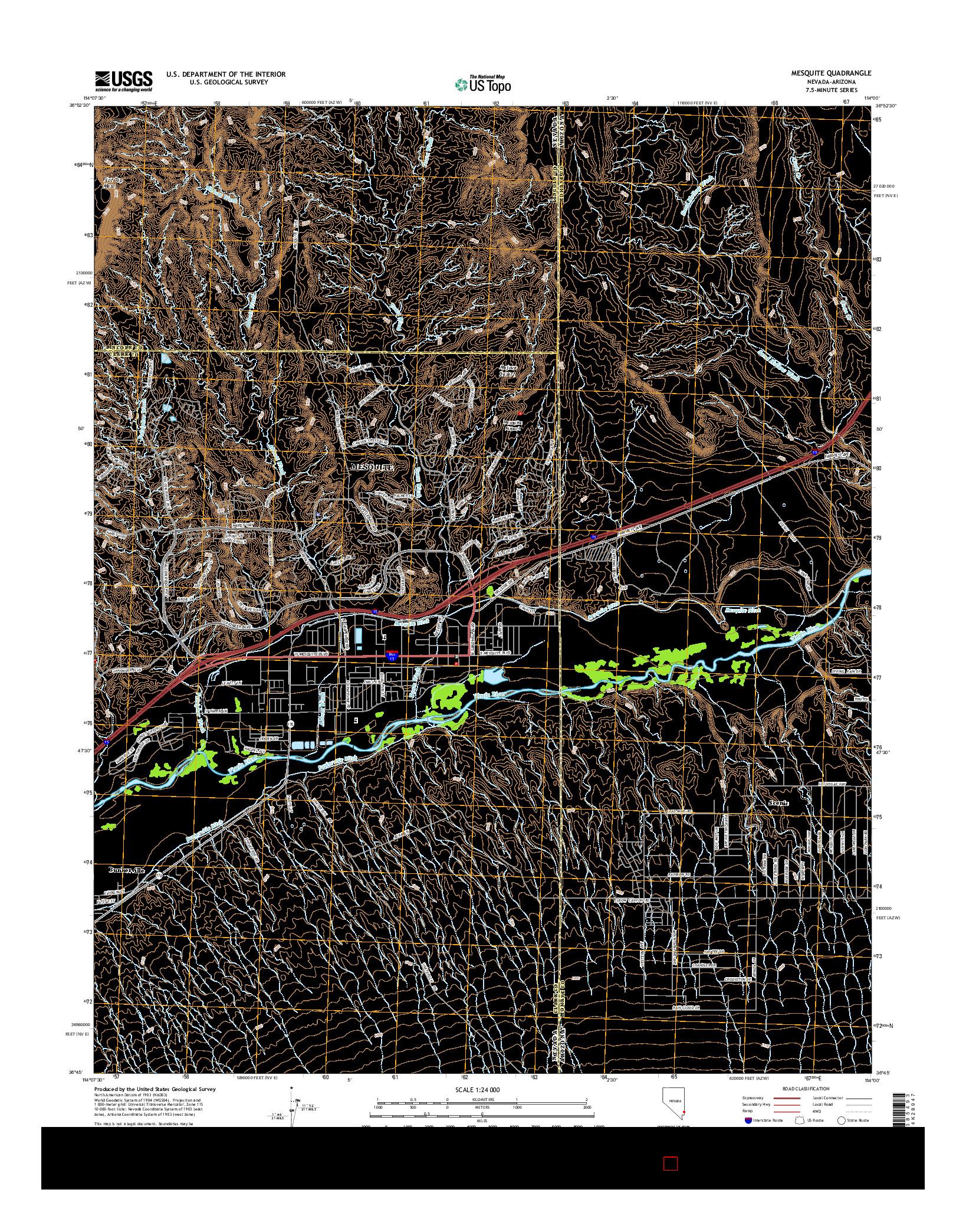 USGS US TOPO 7.5-MINUTE MAP FOR MESQUITE, NV-AZ 2014