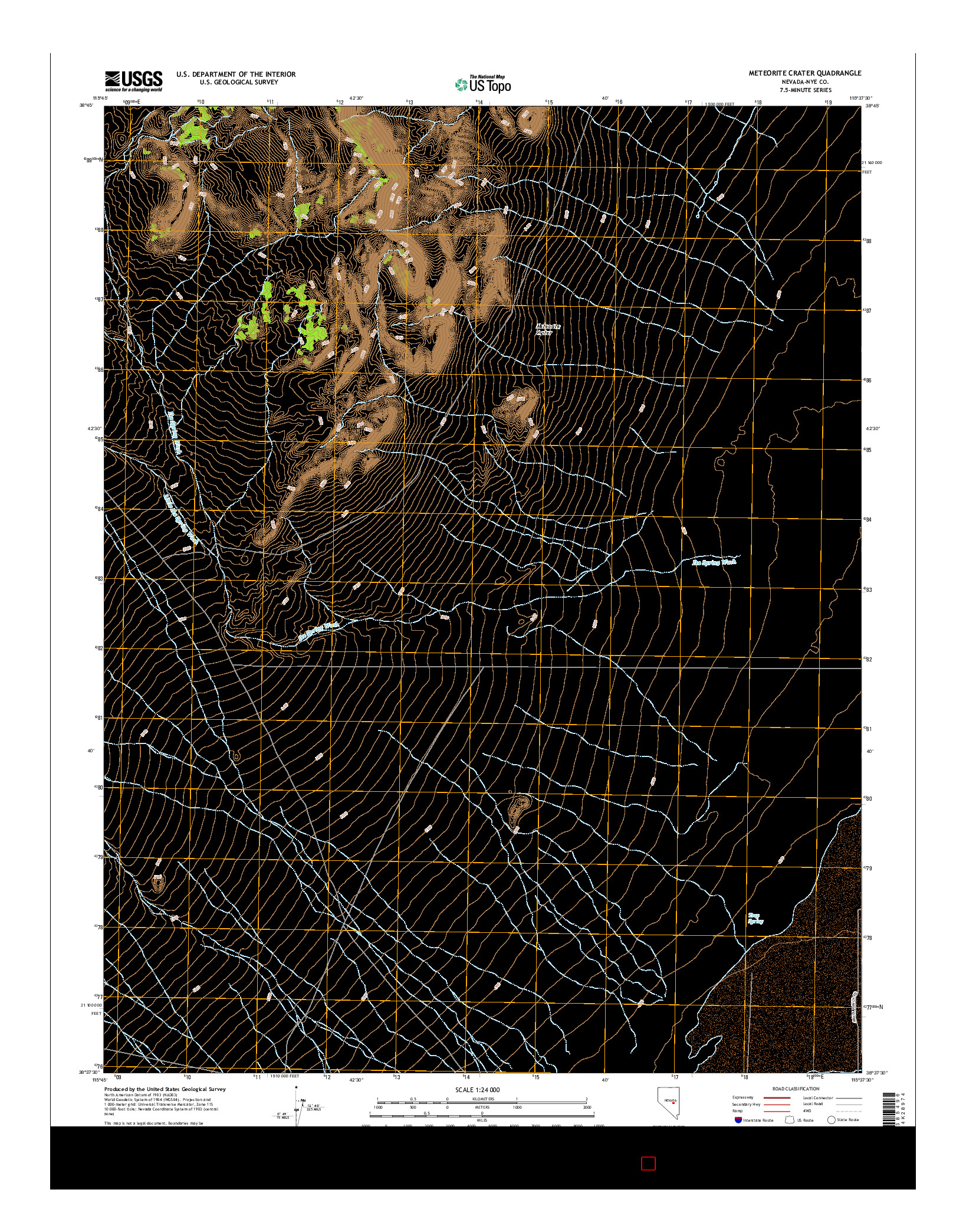 USGS US TOPO 7.5-MINUTE MAP FOR METEORITE CRATER, NV 2014