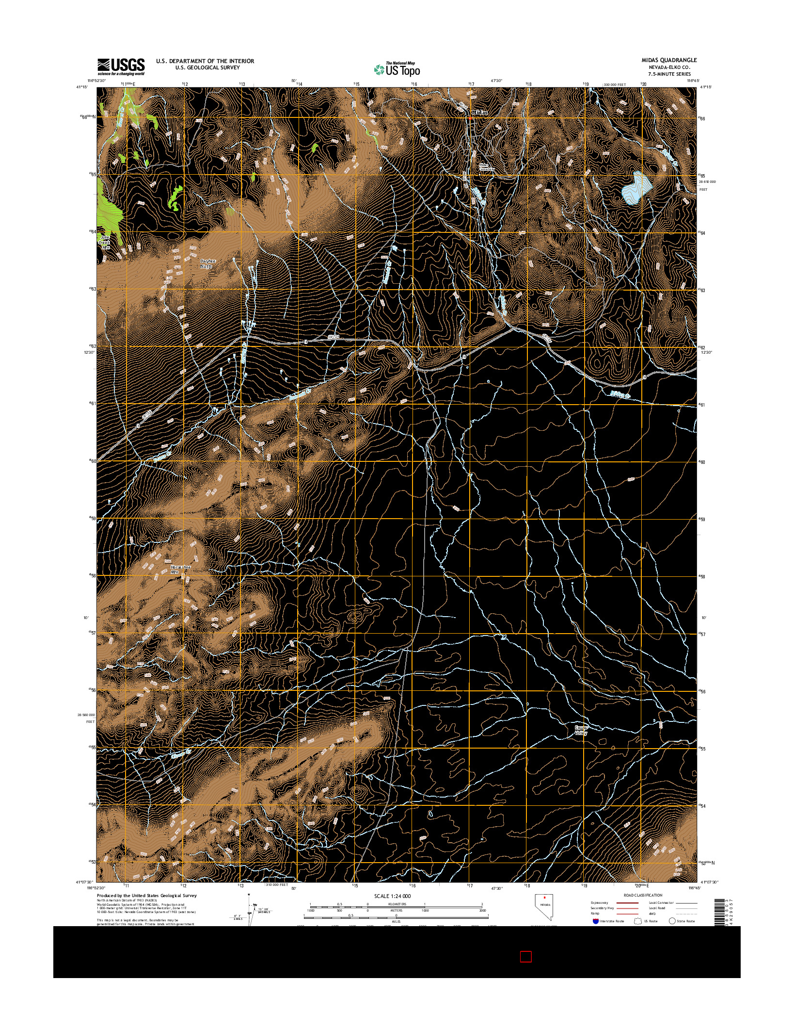 USGS US TOPO 7.5-MINUTE MAP FOR MIDAS, NV 2014
