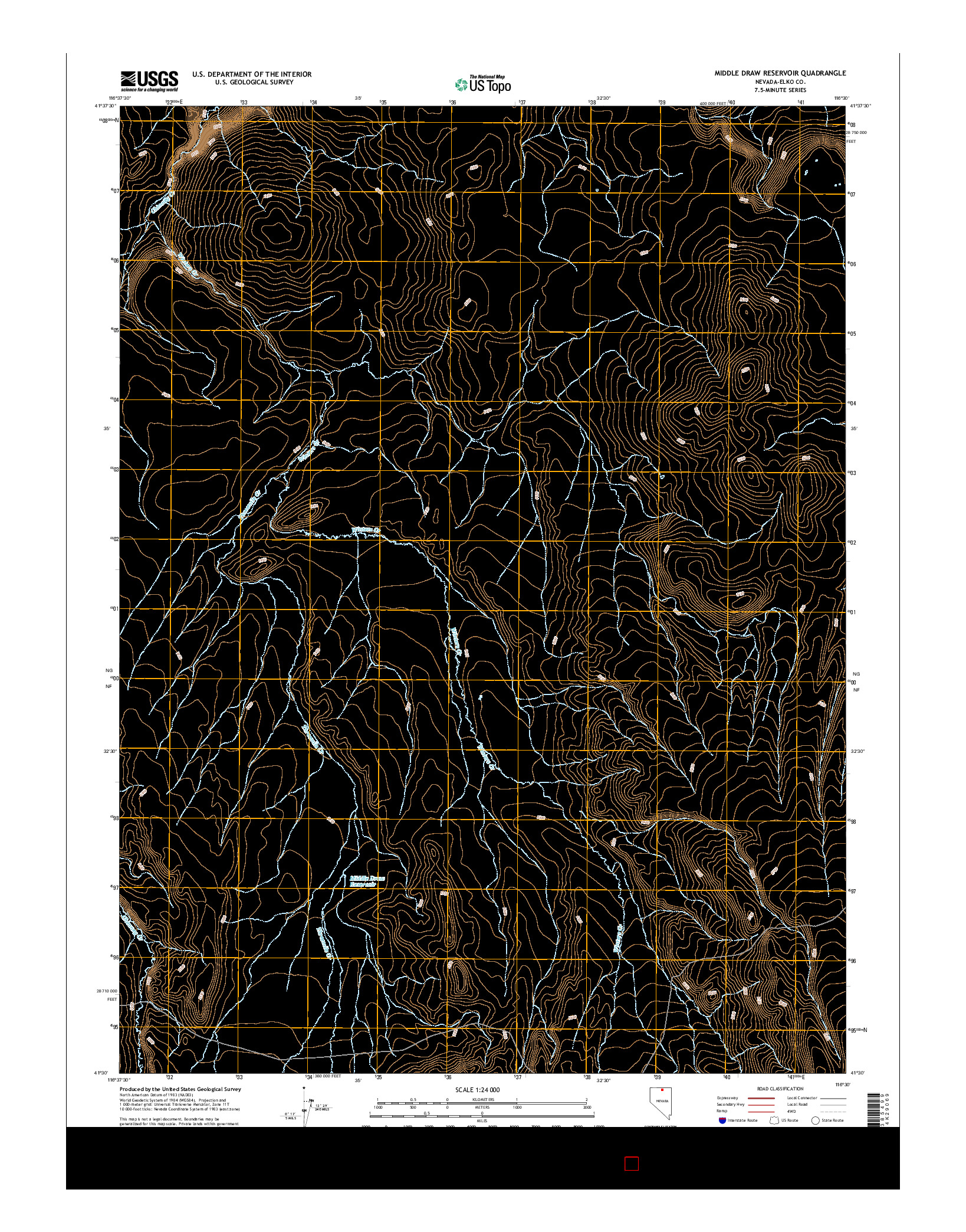 USGS US TOPO 7.5-MINUTE MAP FOR MIDDLE DRAW RESERVOIR, NV 2014