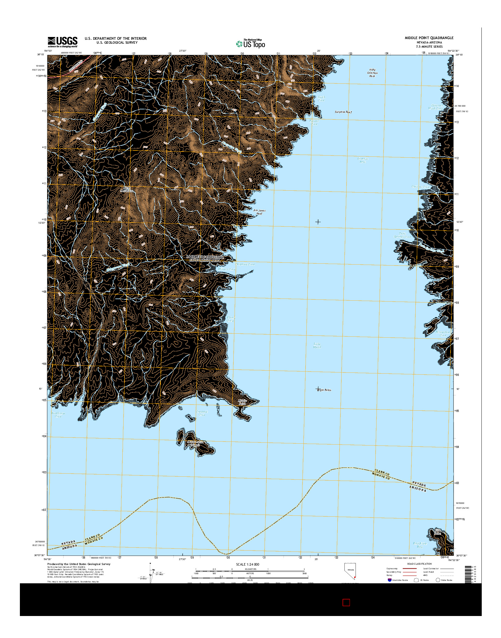 USGS US TOPO 7.5-MINUTE MAP FOR MIDDLE POINT, NV-AZ 2014