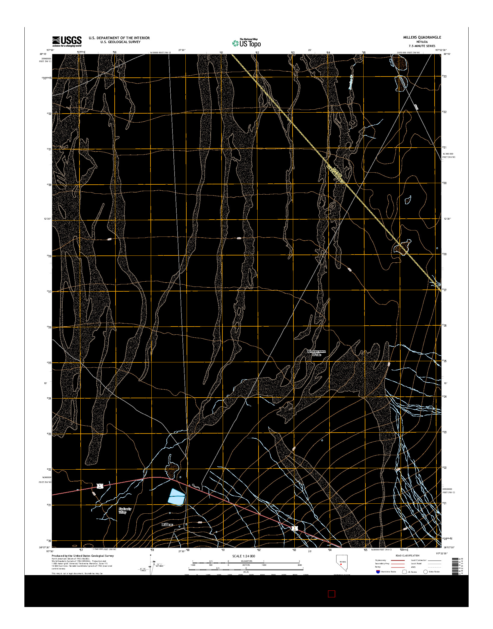 USGS US TOPO 7.5-MINUTE MAP FOR MILLERS, NV 2014