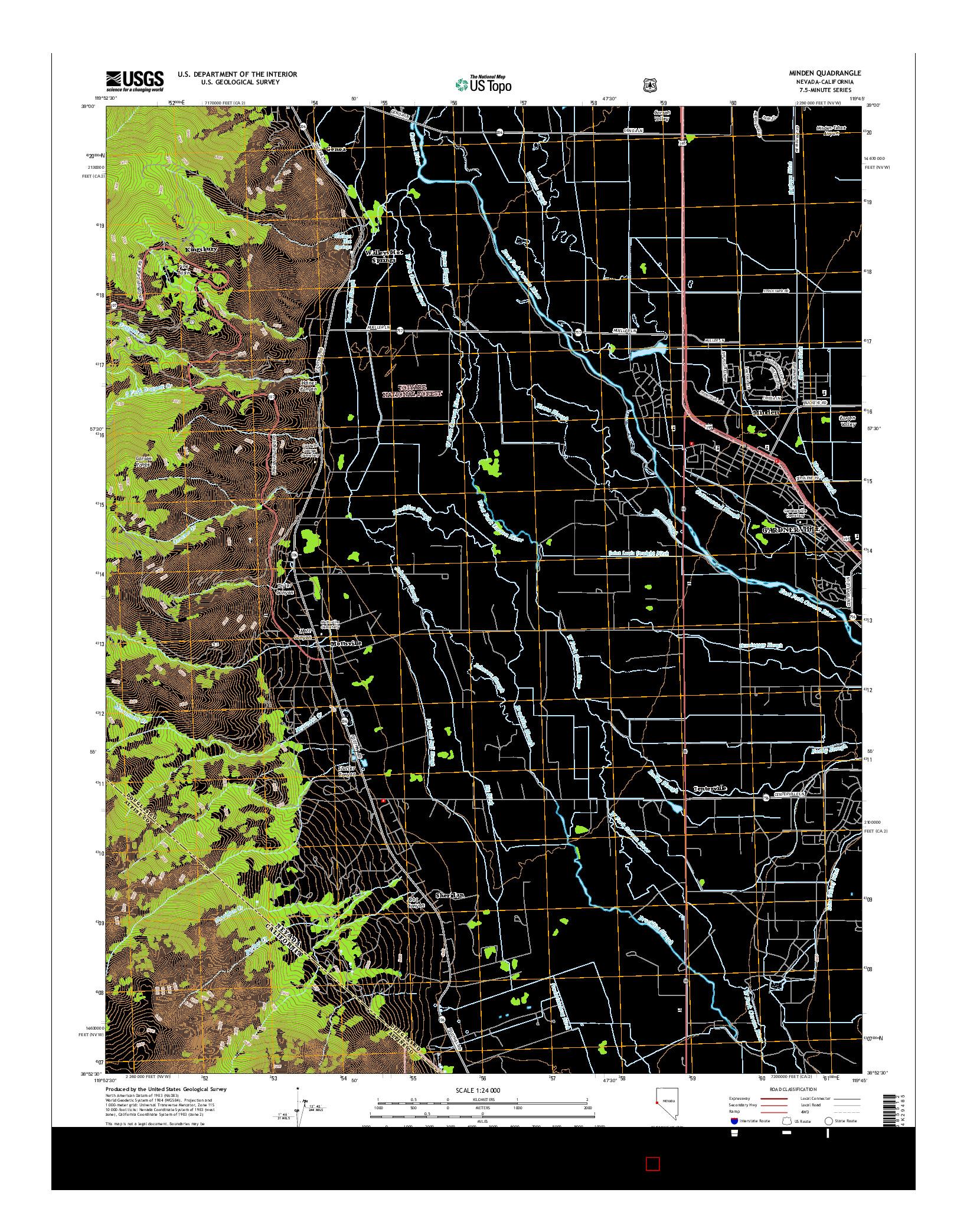 USGS US TOPO 7.5-MINUTE MAP FOR MINDEN, NV-CA 2014
