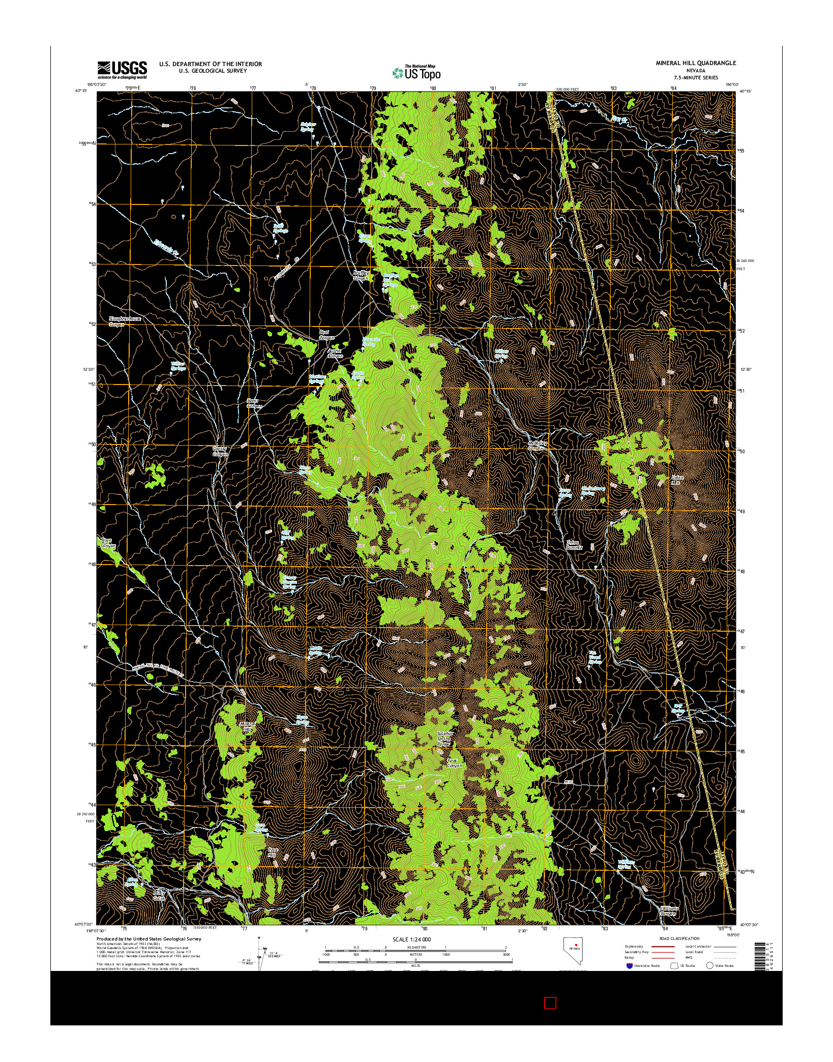 USGS US TOPO 7.5-MINUTE MAP FOR MINERAL HILL, NV 2014