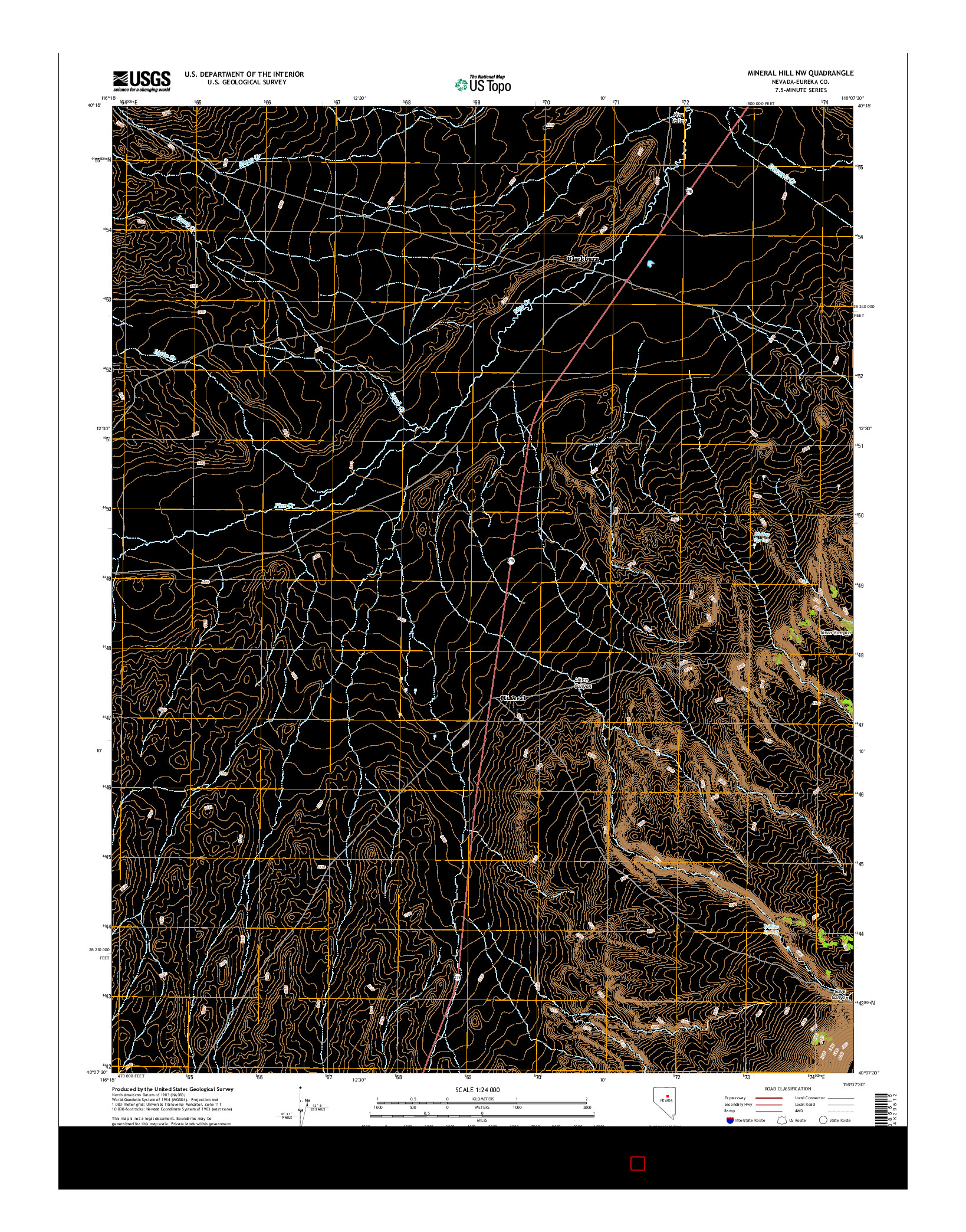USGS US TOPO 7.5-MINUTE MAP FOR MINERAL HILL NW, NV 2014