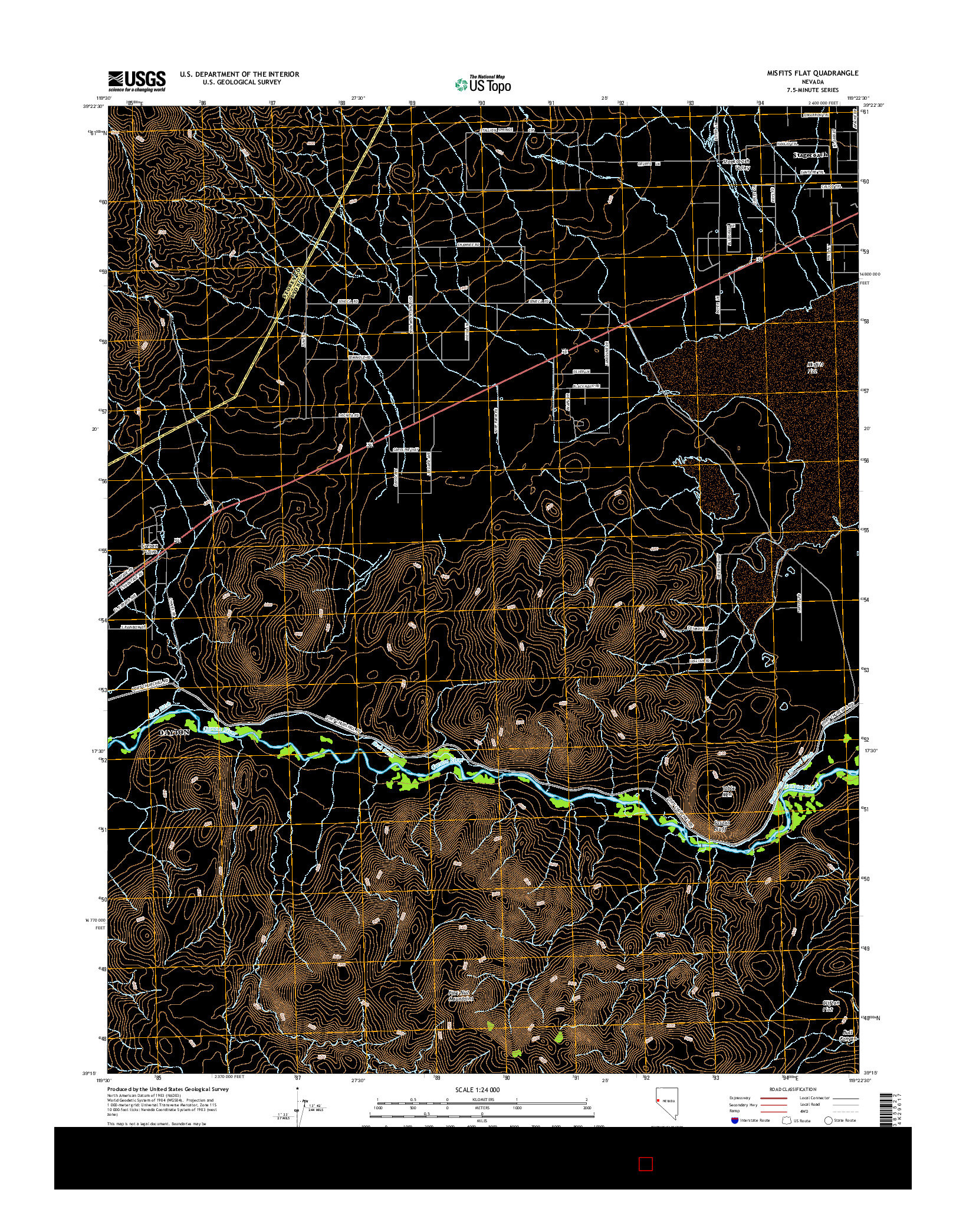 USGS US TOPO 7.5-MINUTE MAP FOR MISFITS FLAT, NV 2014