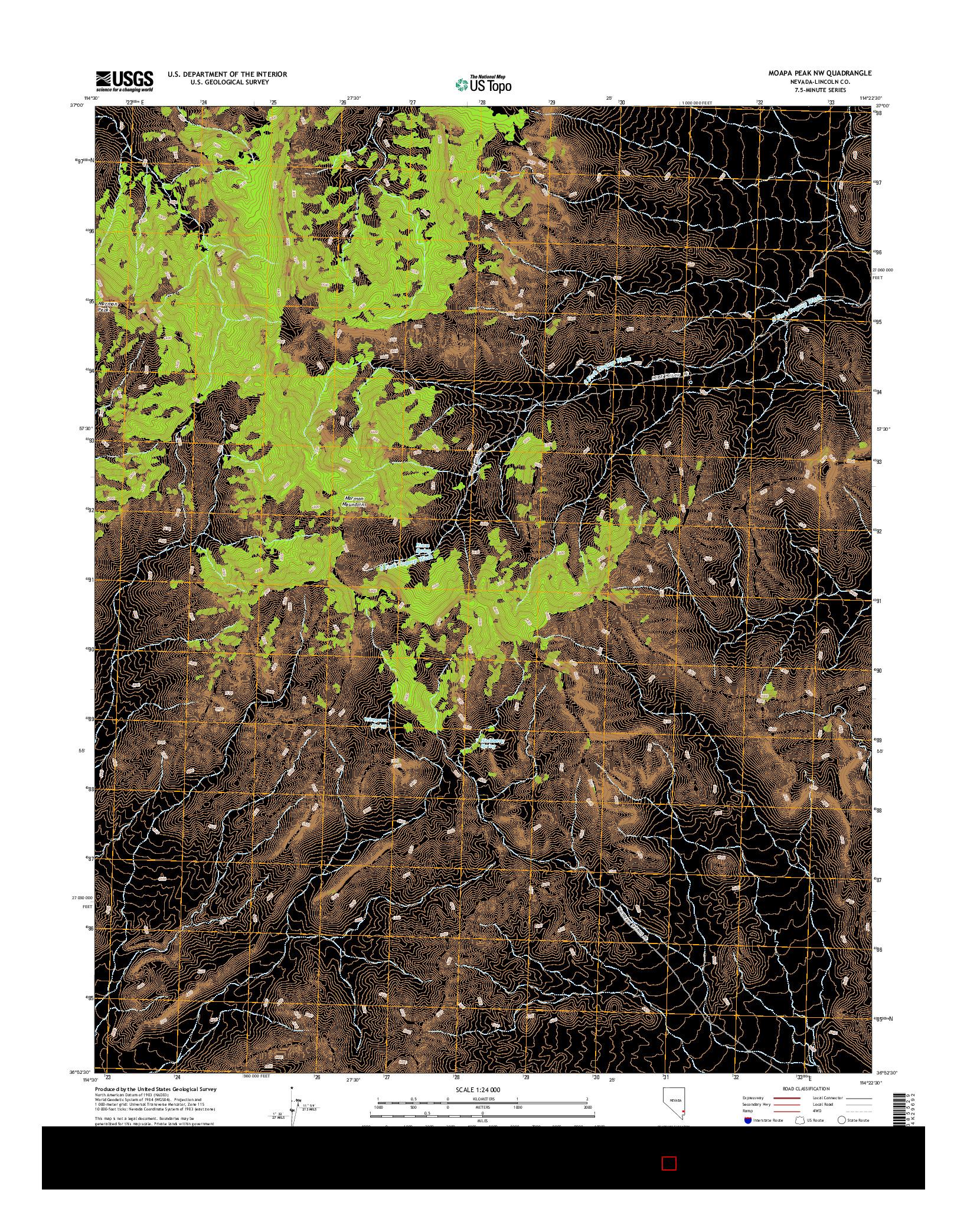 USGS US TOPO 7.5-MINUTE MAP FOR MOAPA PEAK NW, NV 2014