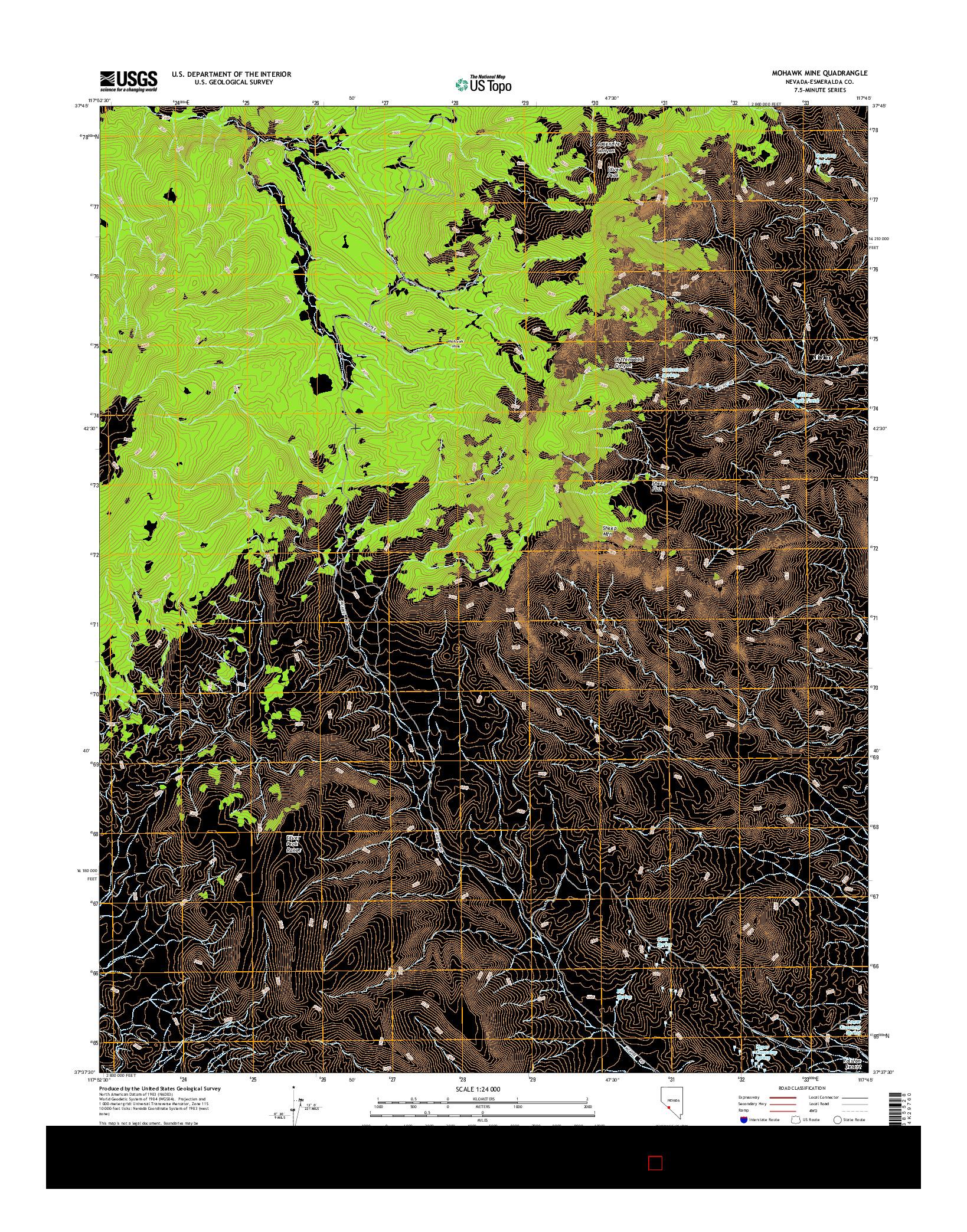 USGS US TOPO 7.5-MINUTE MAP FOR MOHAWK MINE, NV 2014