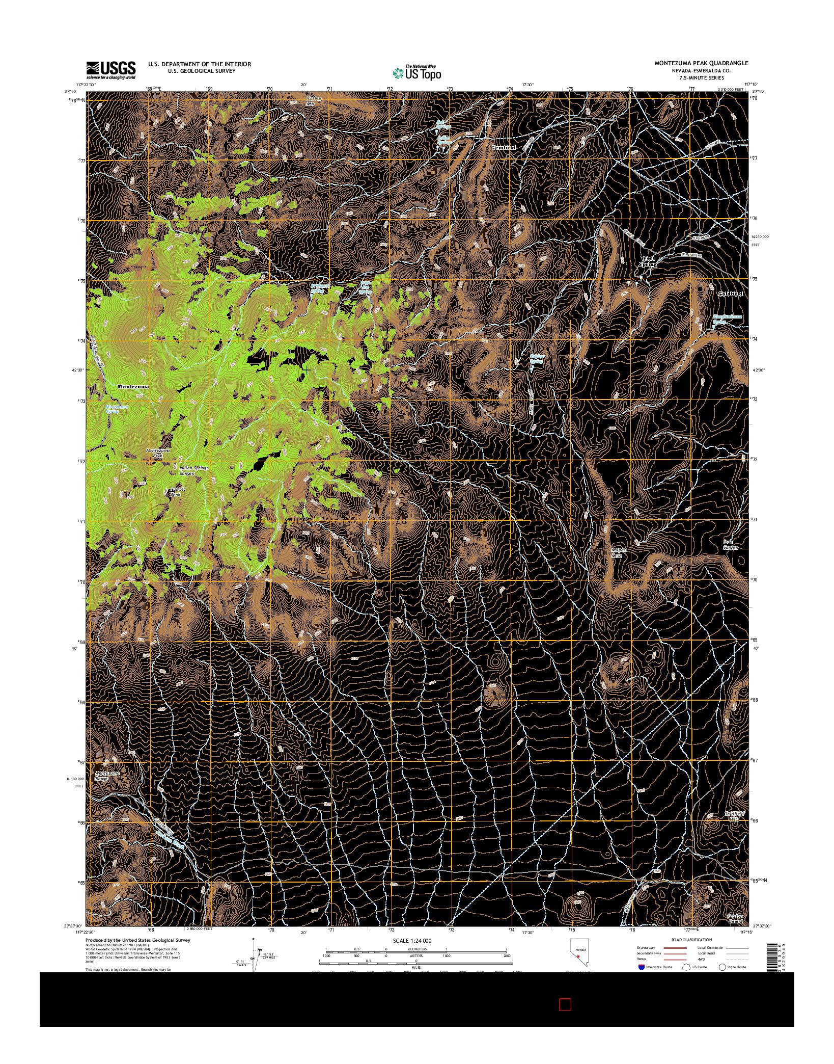 USGS US TOPO 7.5-MINUTE MAP FOR MONTEZUMA PEAK, NV 2014