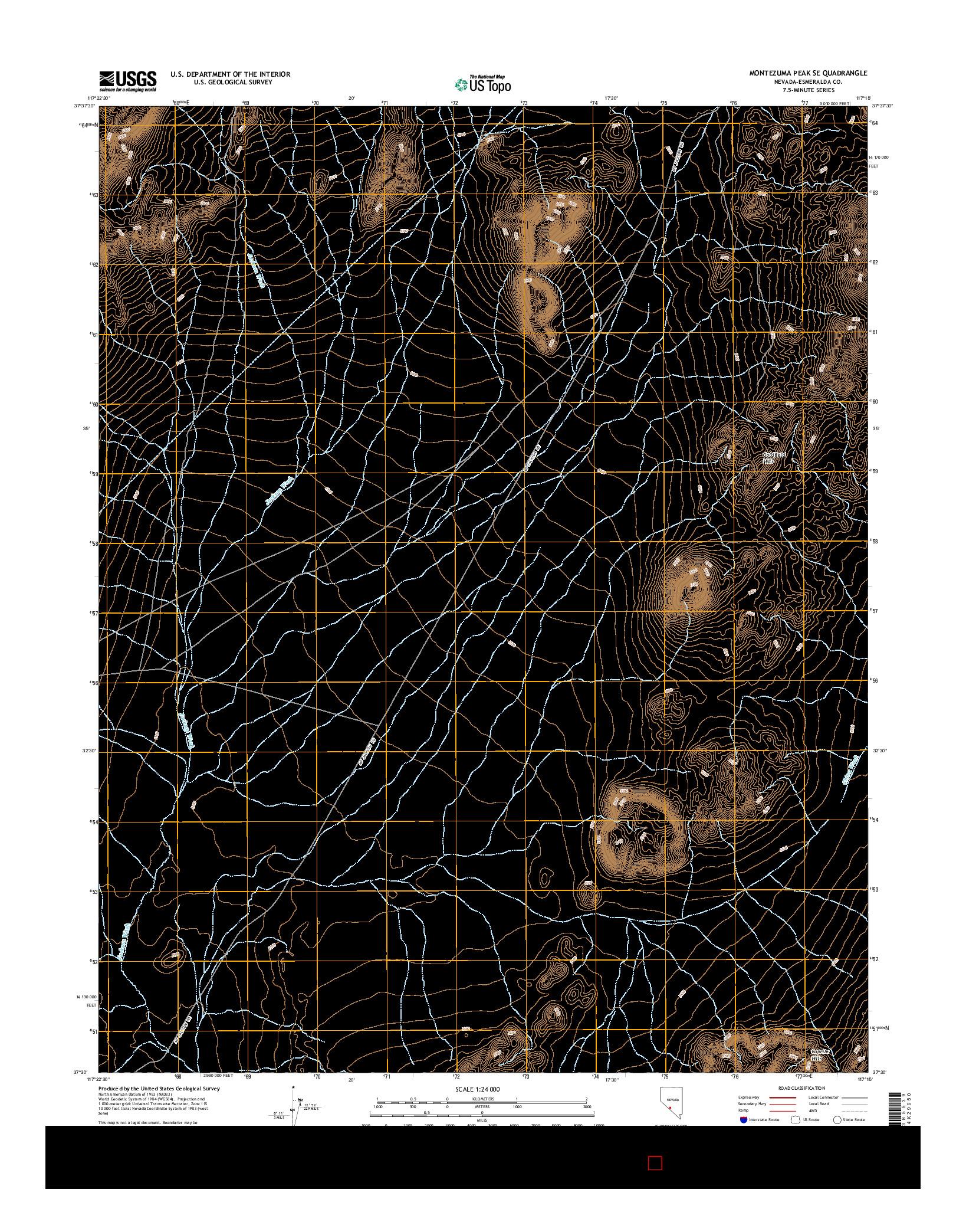 USGS US TOPO 7.5-MINUTE MAP FOR MONTEZUMA PEAK SE, NV 2014