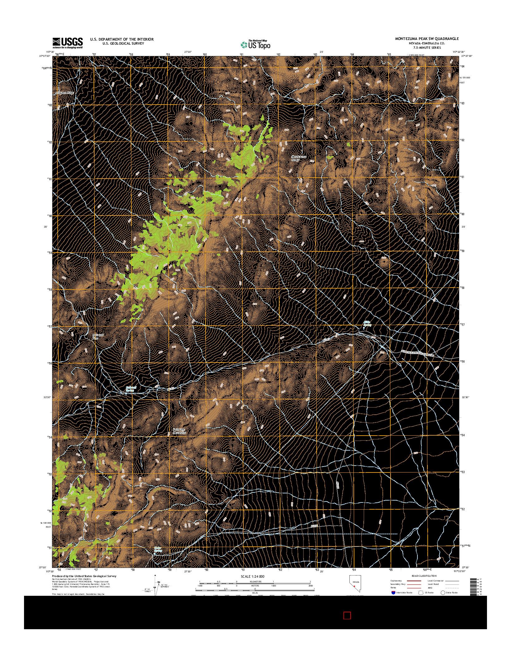 USGS US TOPO 7.5-MINUTE MAP FOR MONTEZUMA PEAK SW, NV 2014