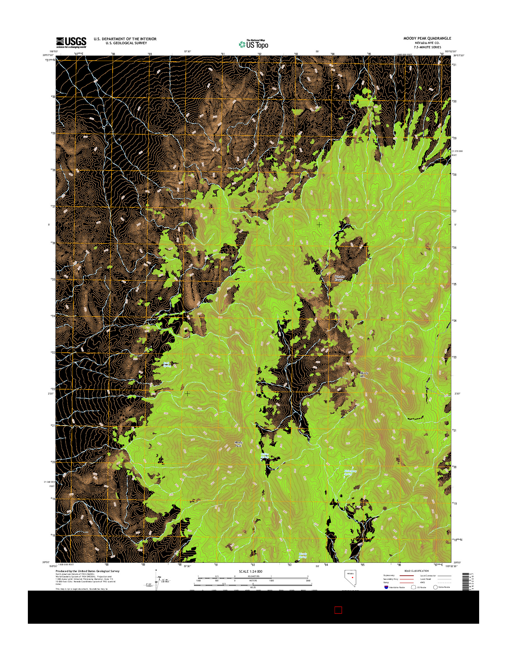 USGS US TOPO 7.5-MINUTE MAP FOR MOODY PEAK, NV 2014