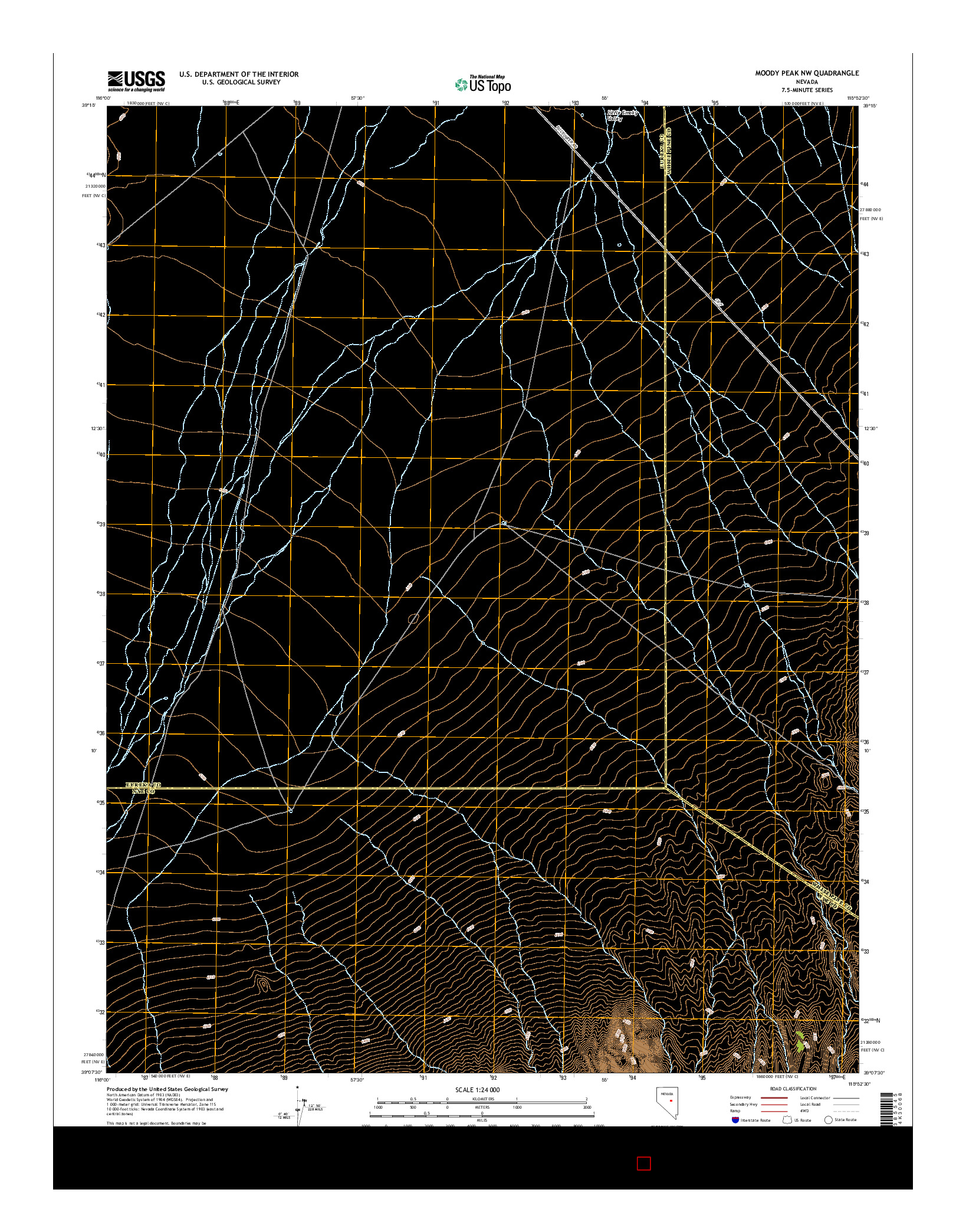 USGS US TOPO 7.5-MINUTE MAP FOR MOODY PEAK NW, NV 2014