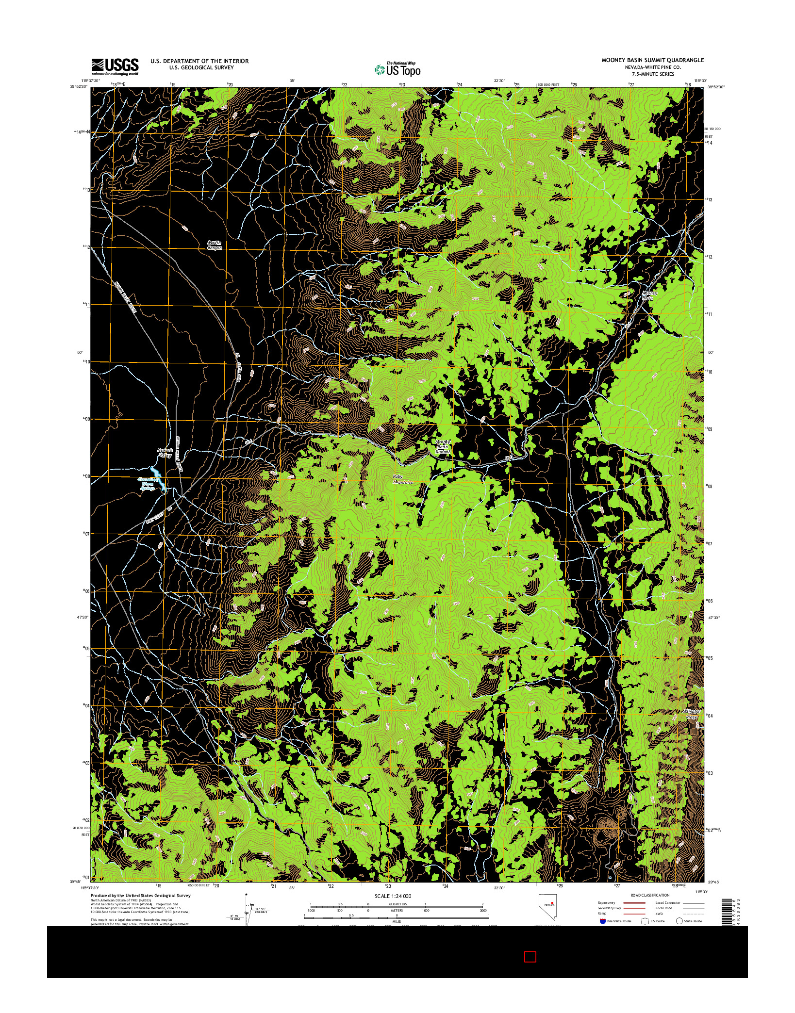 USGS US TOPO 7.5-MINUTE MAP FOR MOONEY BASIN SUMMIT, NV 2014