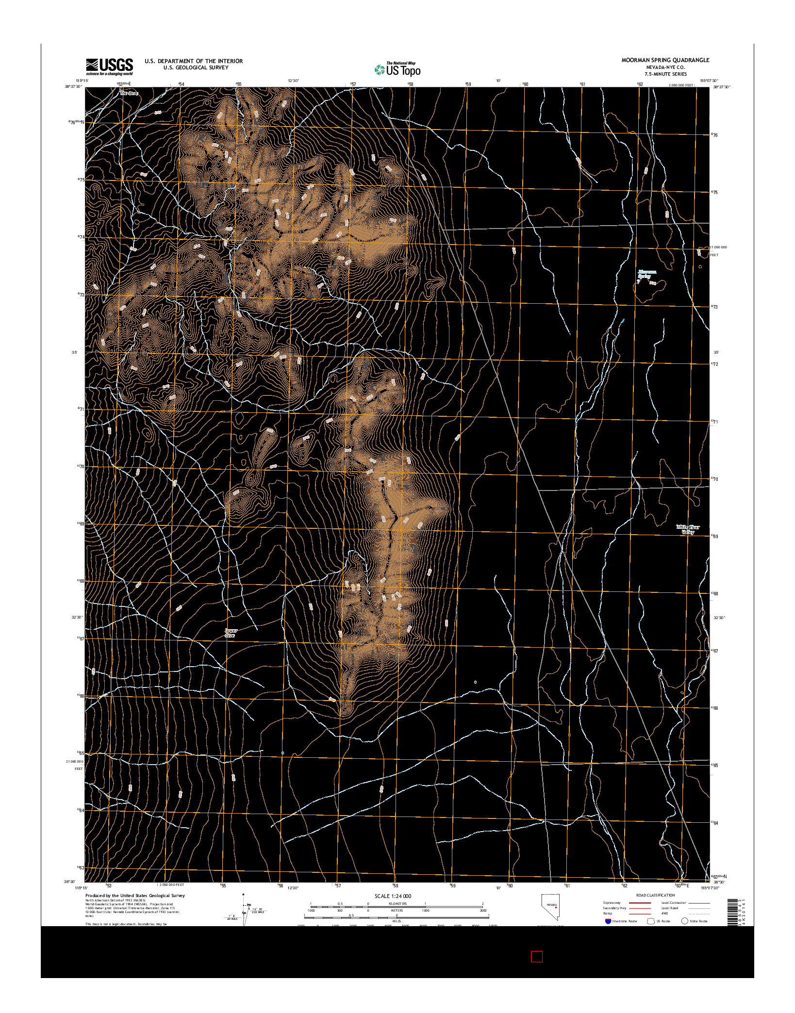 USGS US TOPO 7.5-MINUTE MAP FOR MOORMAN SPRING, NV 2014
