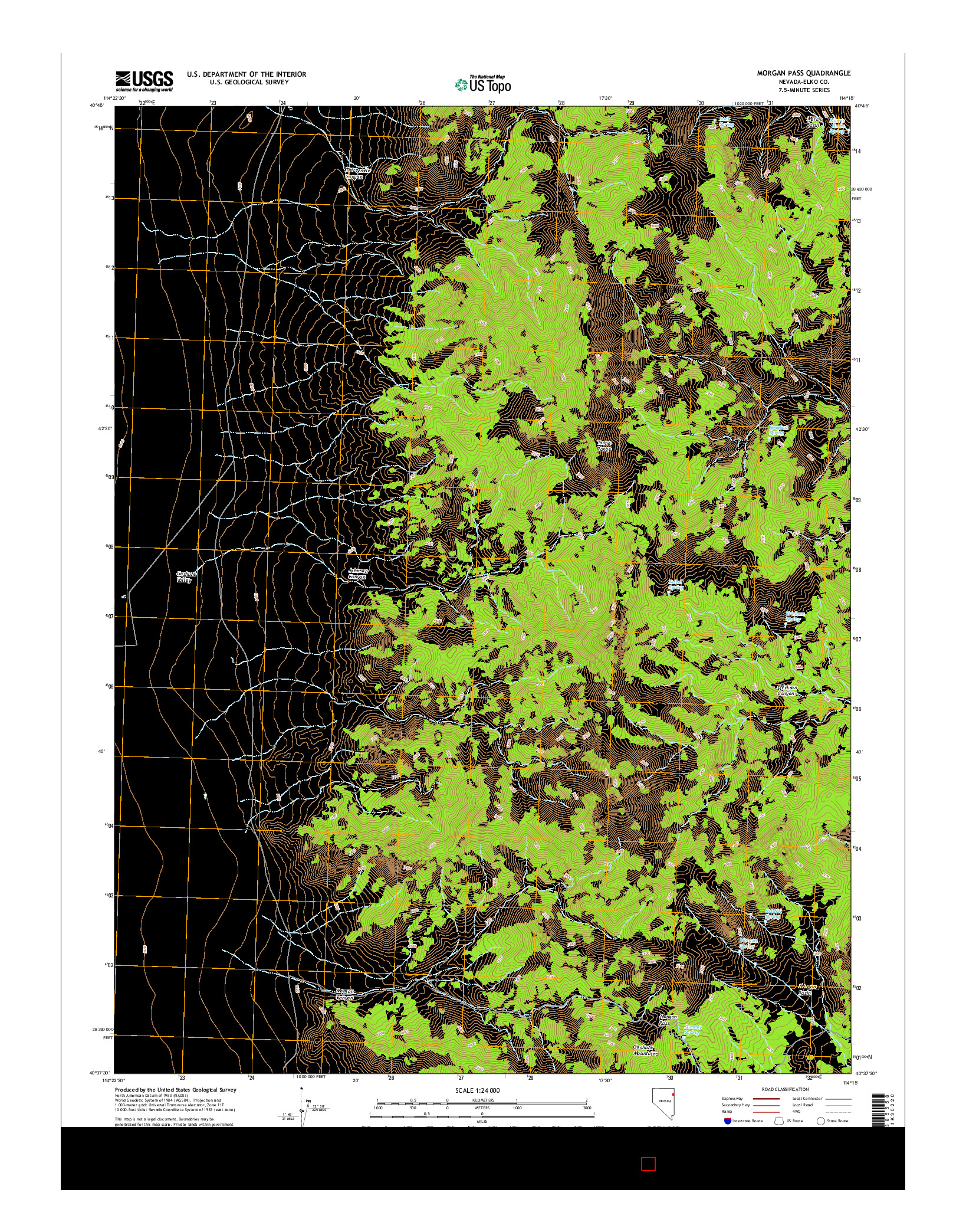 USGS US TOPO 7.5-MINUTE MAP FOR MORGAN PASS, NV 2014