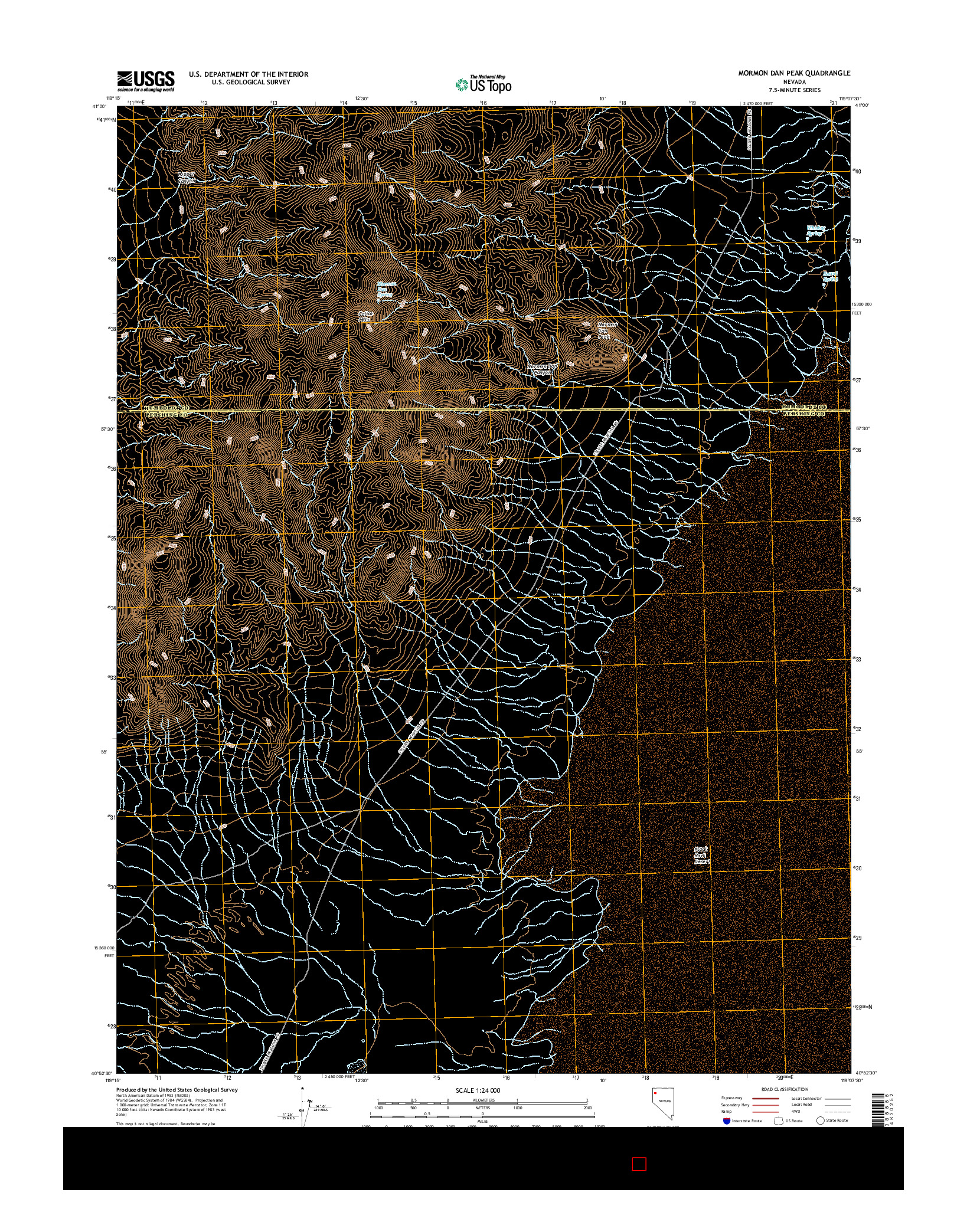 USGS US TOPO 7.5-MINUTE MAP FOR MORMON DAN PEAK, NV 2014