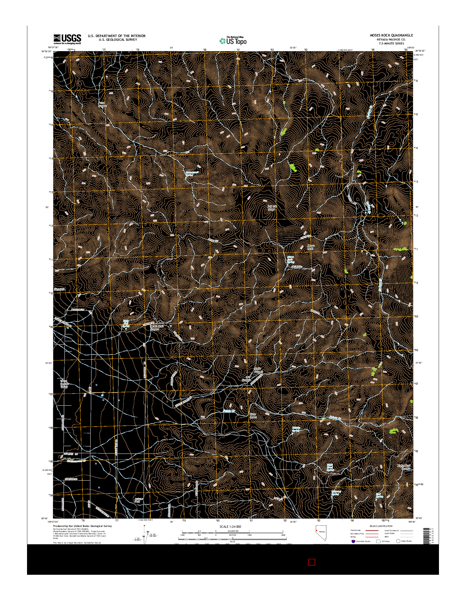 USGS US TOPO 7.5-MINUTE MAP FOR MOSES ROCK, NV 2014