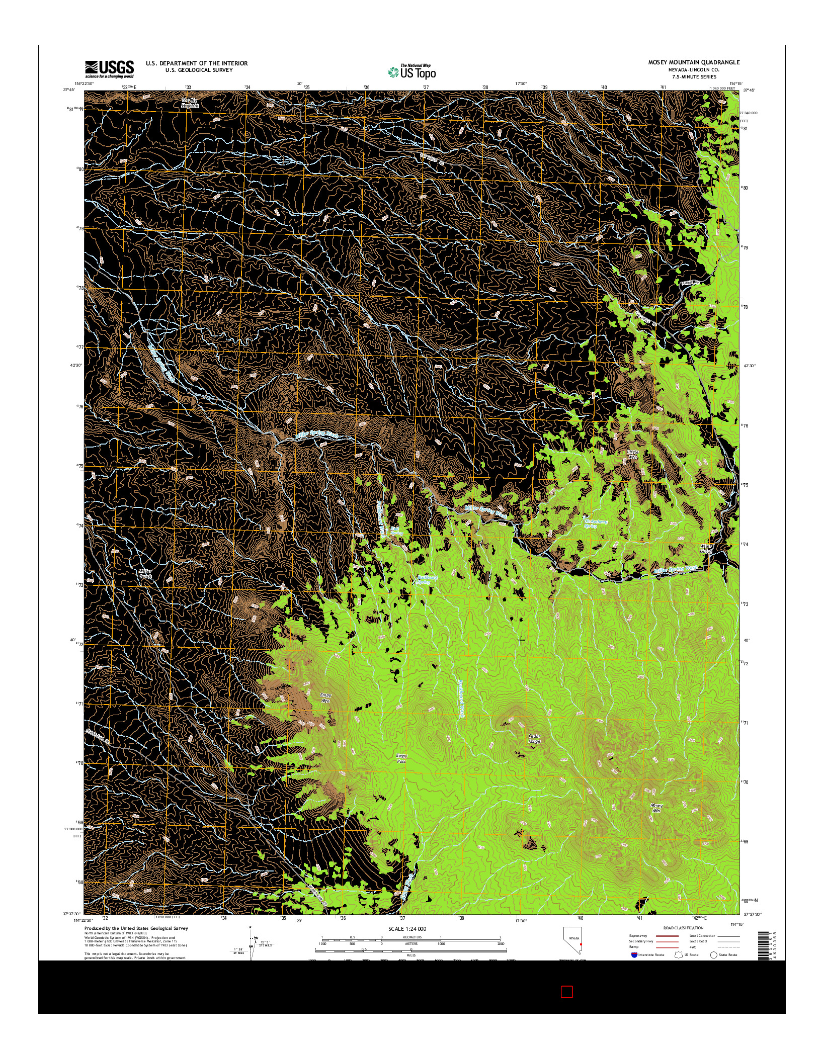 USGS US TOPO 7.5-MINUTE MAP FOR MOSEY MOUNTAIN, NV 2014
