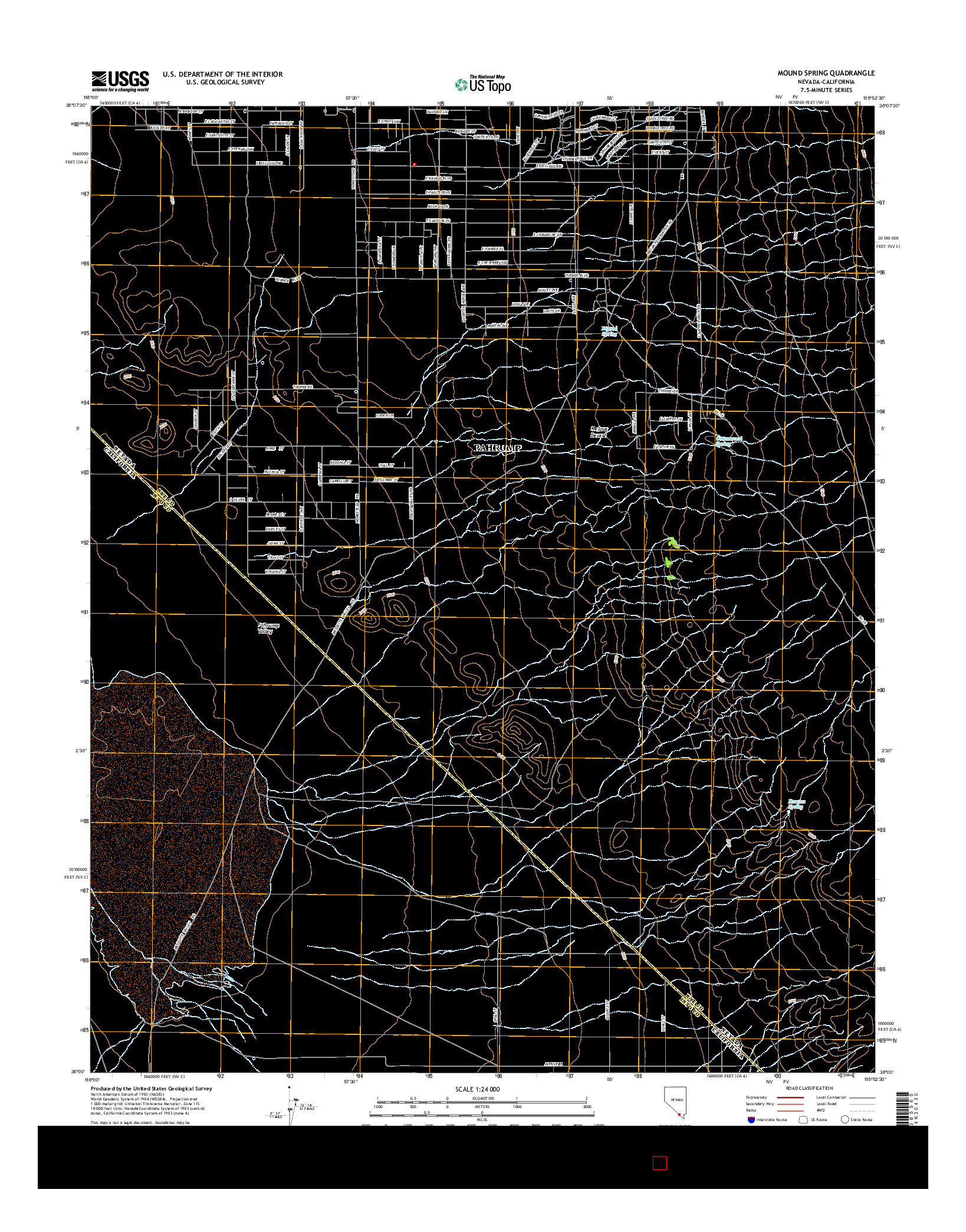 USGS US TOPO 7.5-MINUTE MAP FOR MOUND SPRING, NV-CA 2014