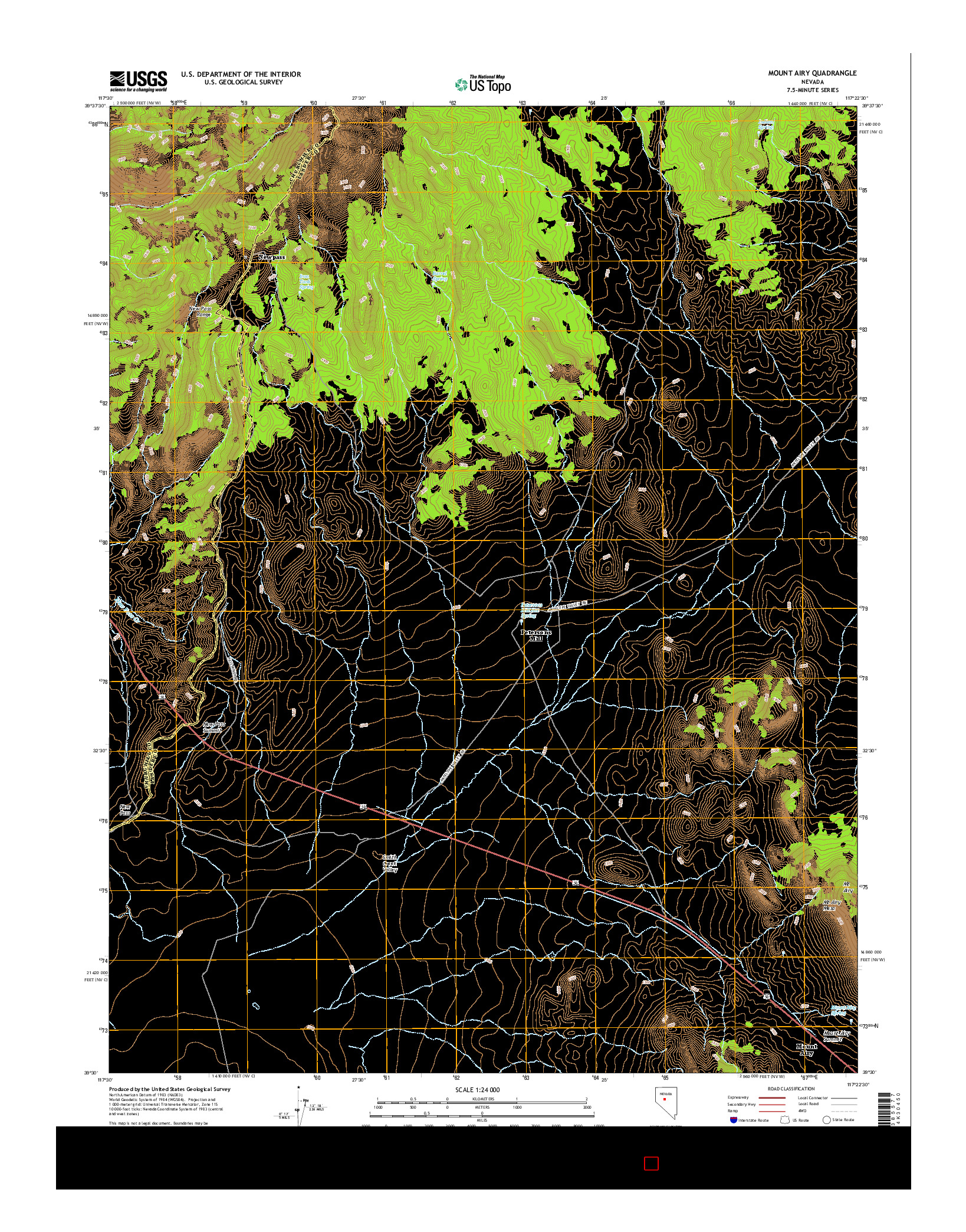 USGS US TOPO 7.5-MINUTE MAP FOR MOUNT AIRY, NV 2014