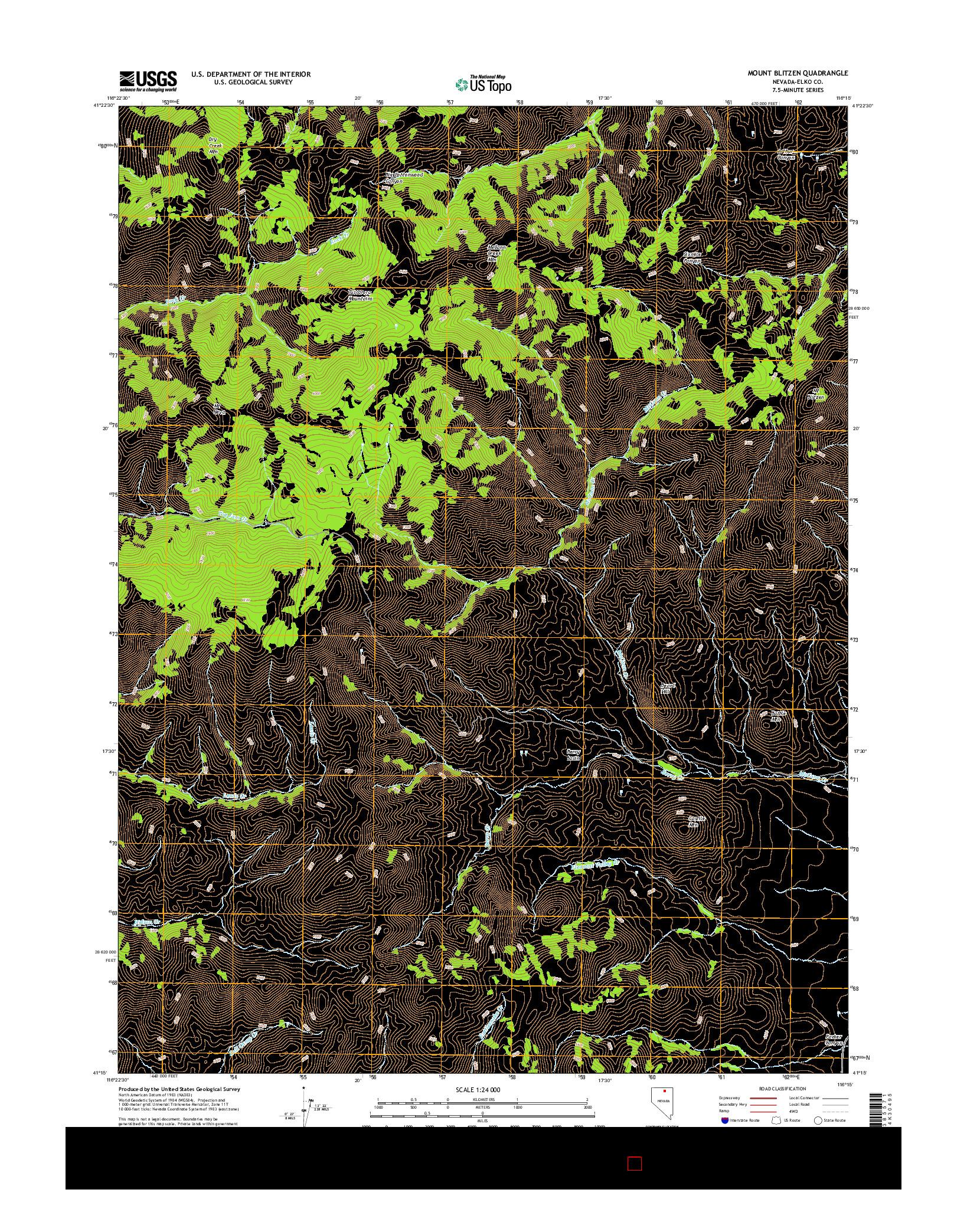 USGS US TOPO 7.5-MINUTE MAP FOR MOUNT BLITZEN, NV 2014