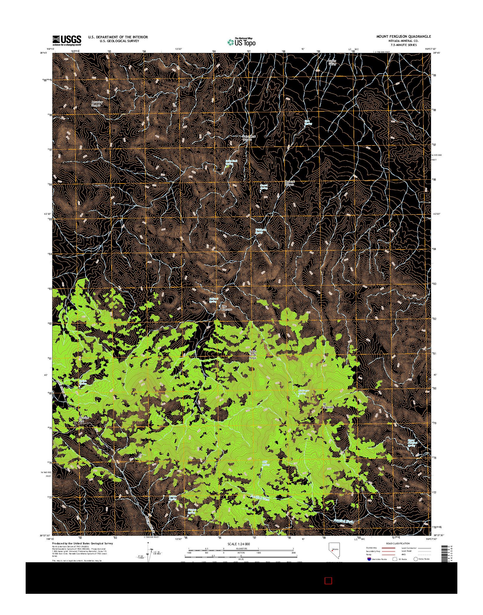 USGS US TOPO 7.5-MINUTE MAP FOR MOUNT FERGUSON, NV 2014