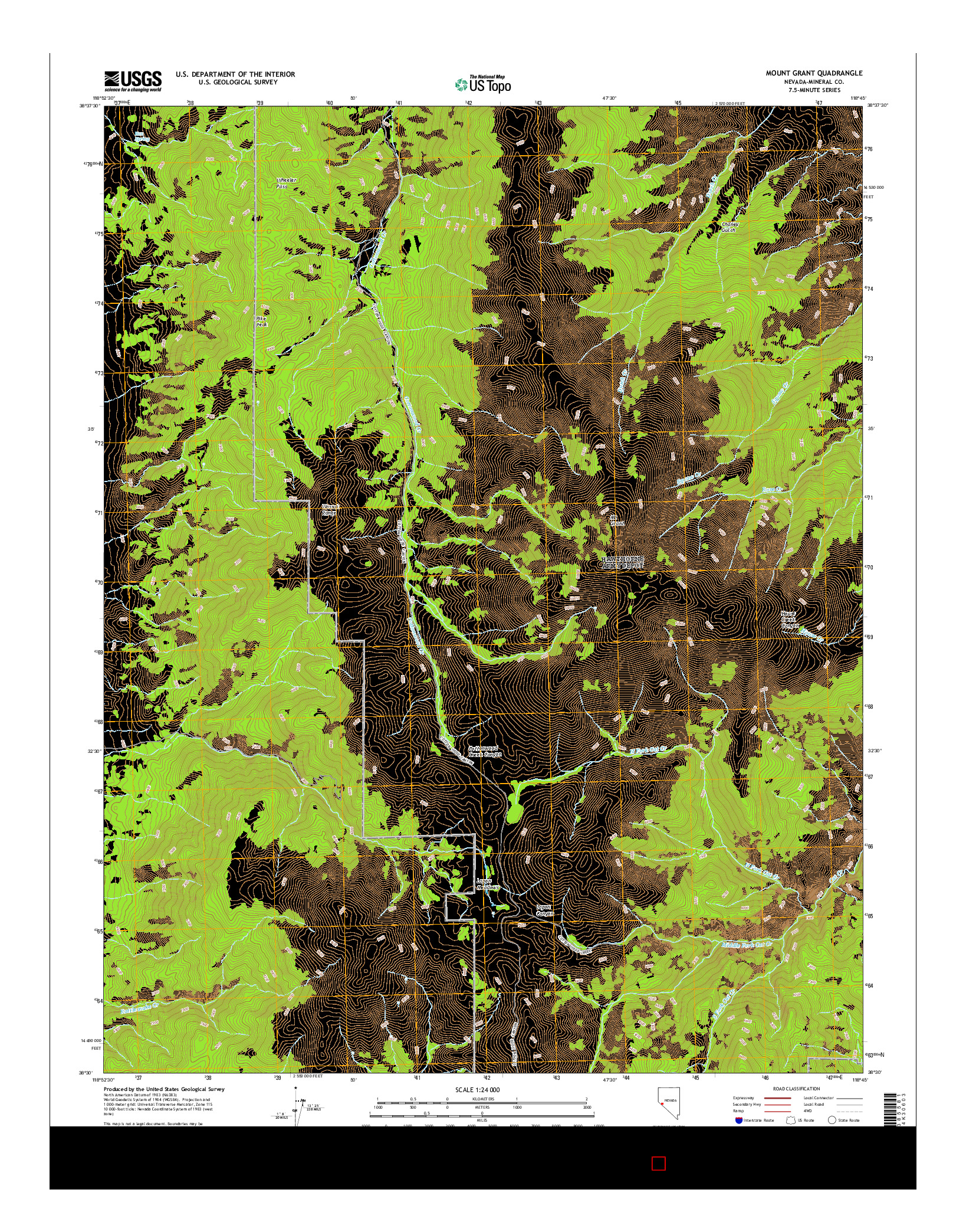 USGS US TOPO 7.5-MINUTE MAP FOR MOUNT GRANT, NV 2014