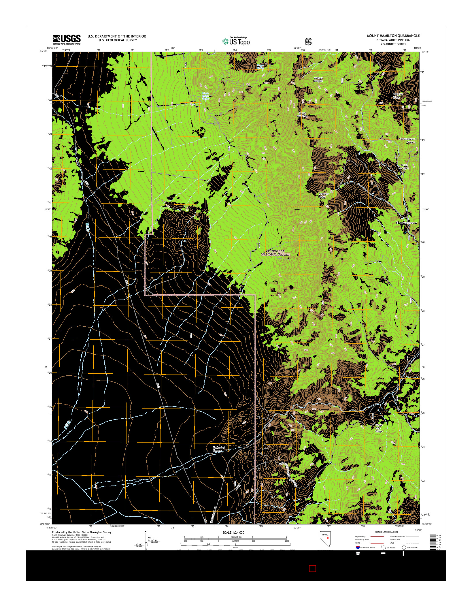 USGS US TOPO 7.5-MINUTE MAP FOR MOUNT HAMILTON, NV 2014