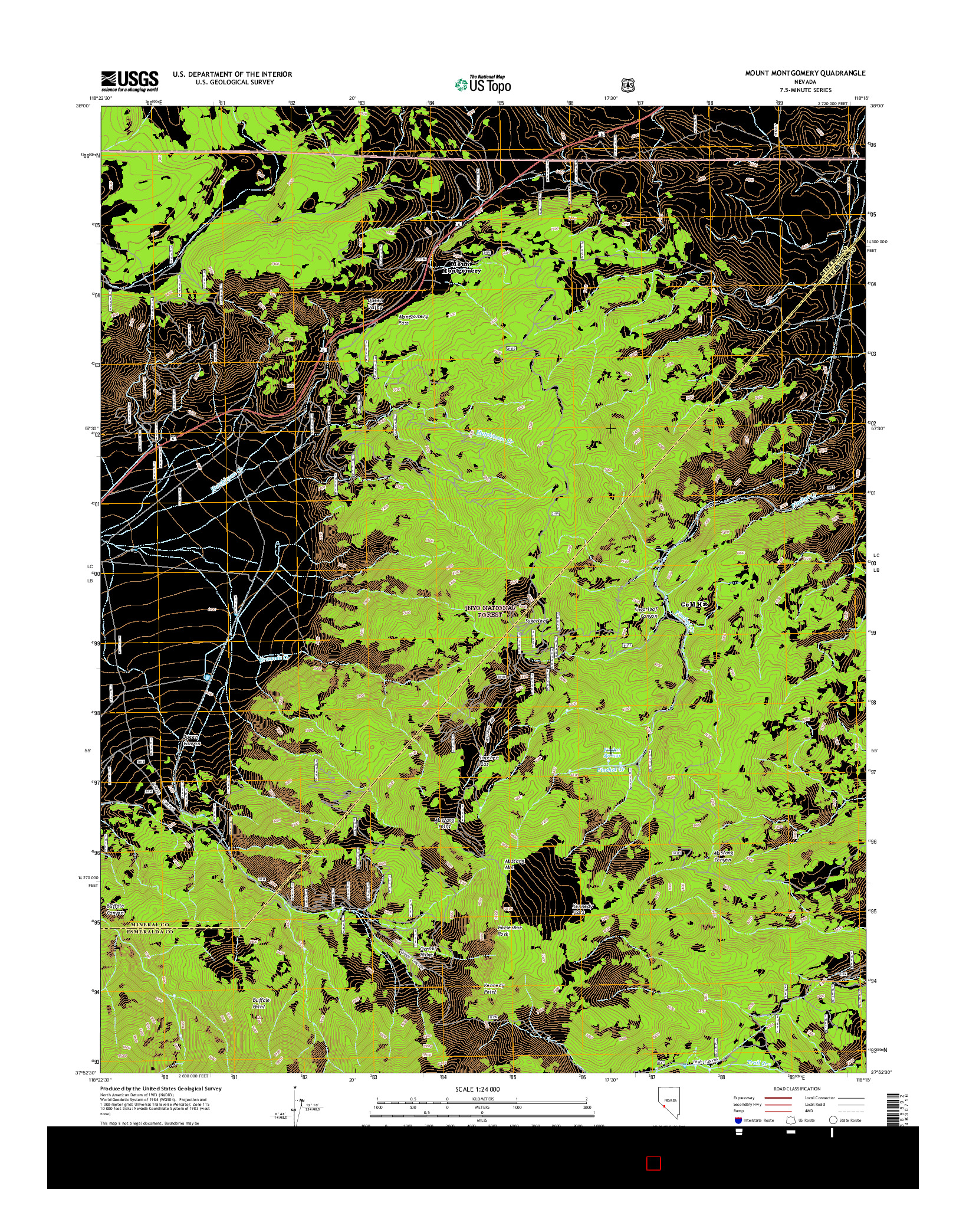 USGS US TOPO 7.5-MINUTE MAP FOR MOUNT MONTGOMERY, NV 2014