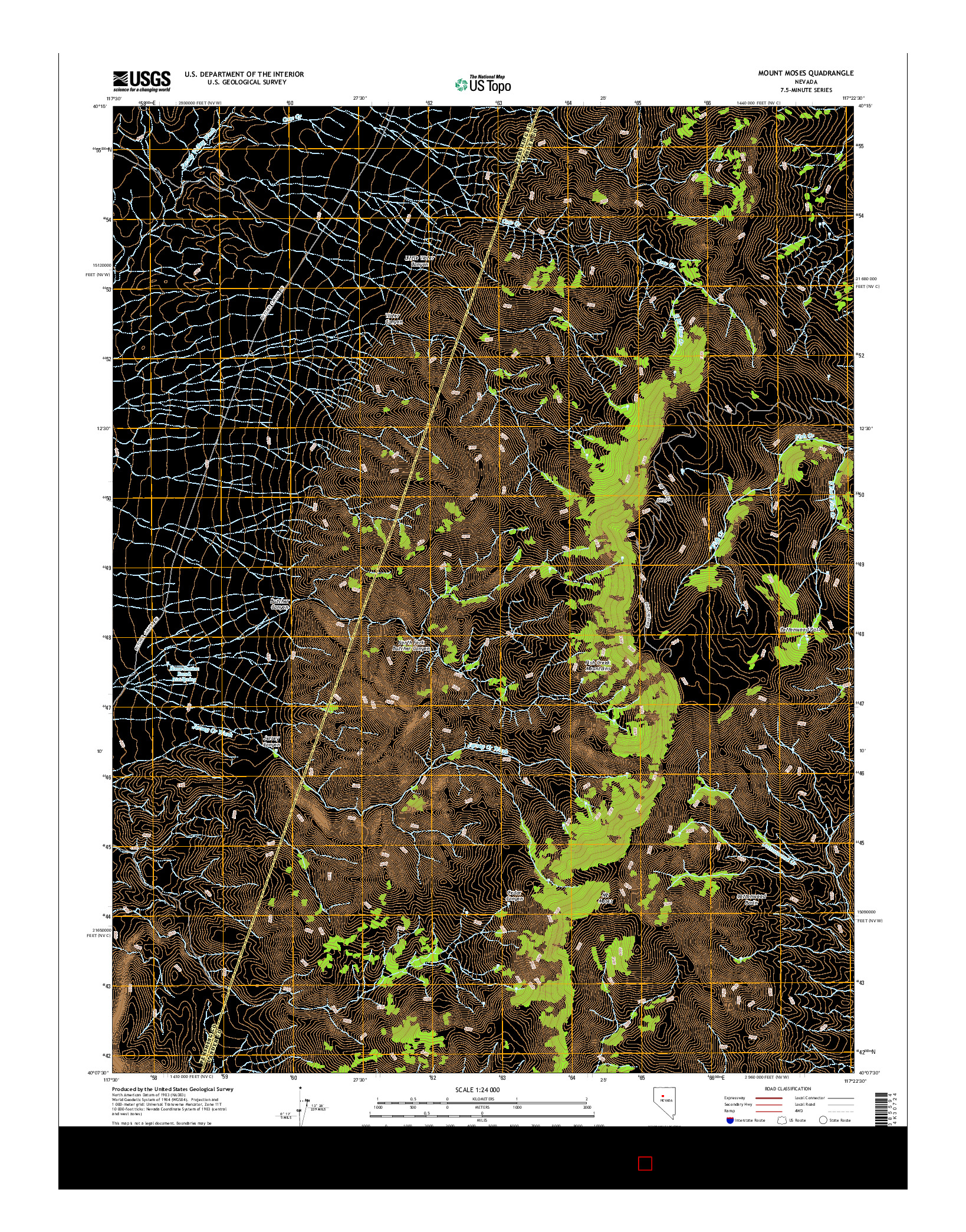 USGS US TOPO 7.5-MINUTE MAP FOR MOUNT MOSES, NV 2014