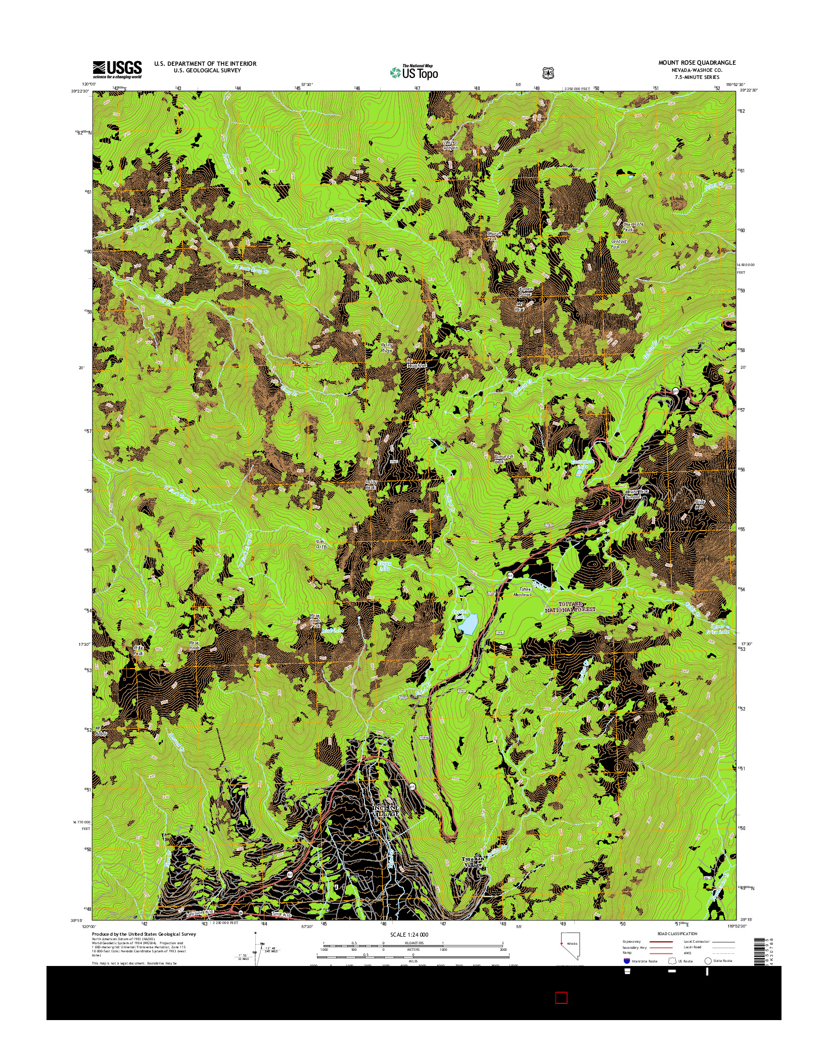 USGS US TOPO 7.5-MINUTE MAP FOR MOUNT ROSE, NV 2014