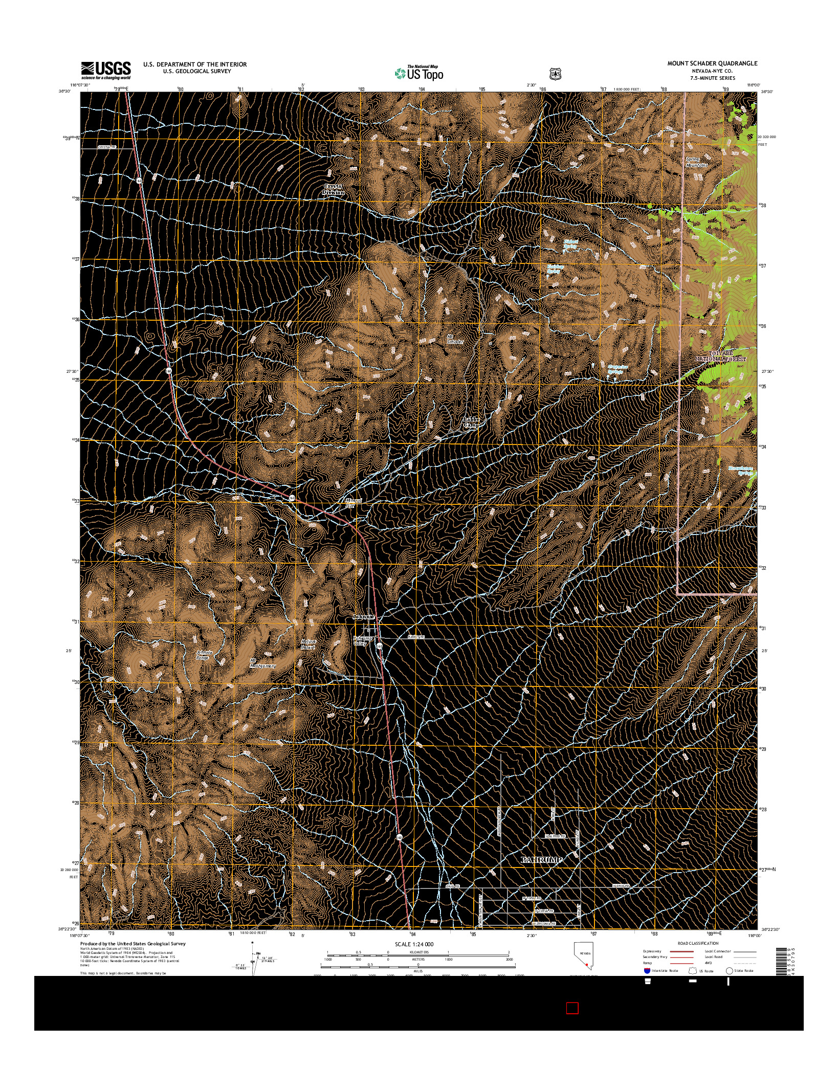 USGS US TOPO 7.5-MINUTE MAP FOR MOUNT SCHADER, NV 2014