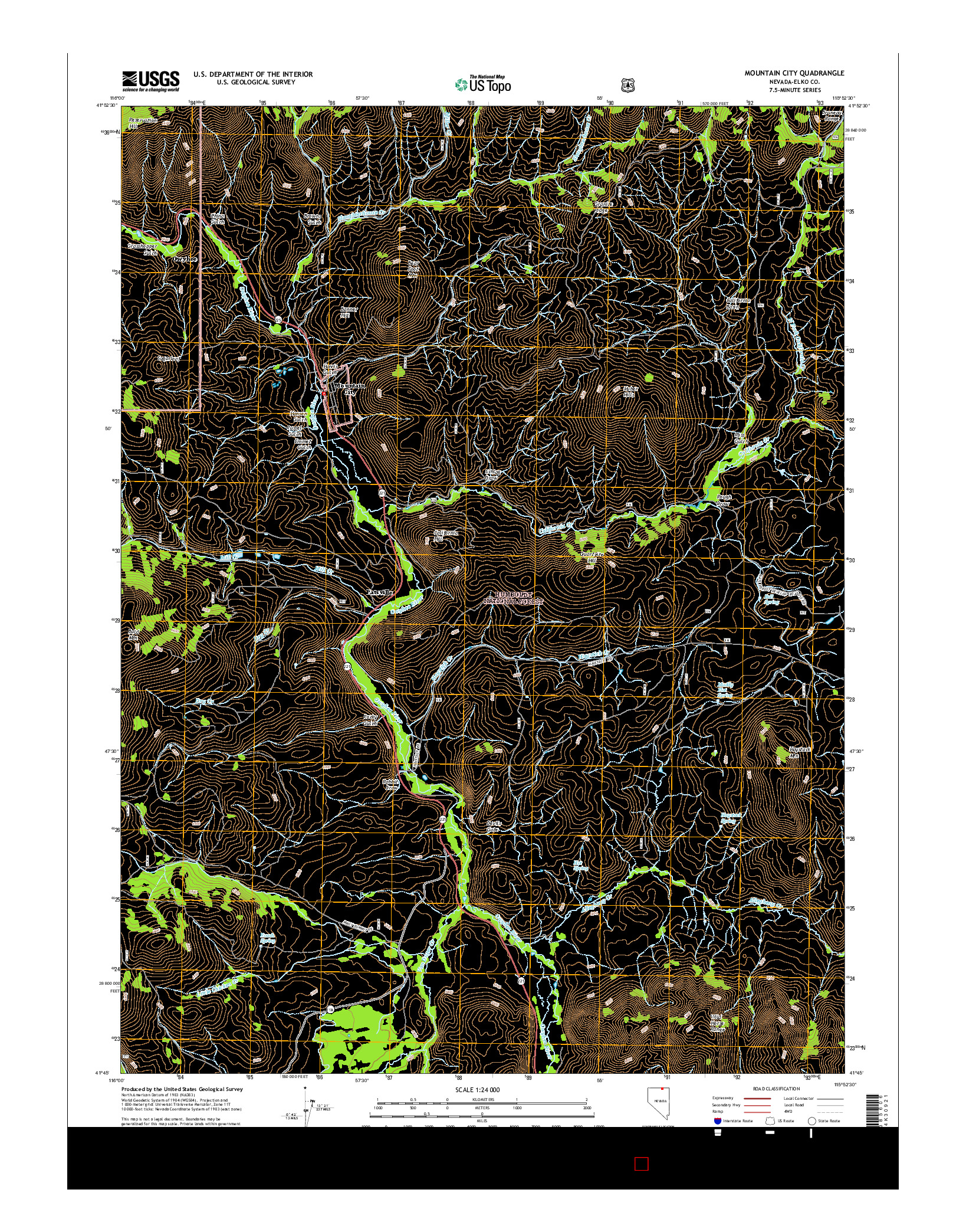 USGS US TOPO 7.5-MINUTE MAP FOR MOUNTAIN CITY, NV 2014