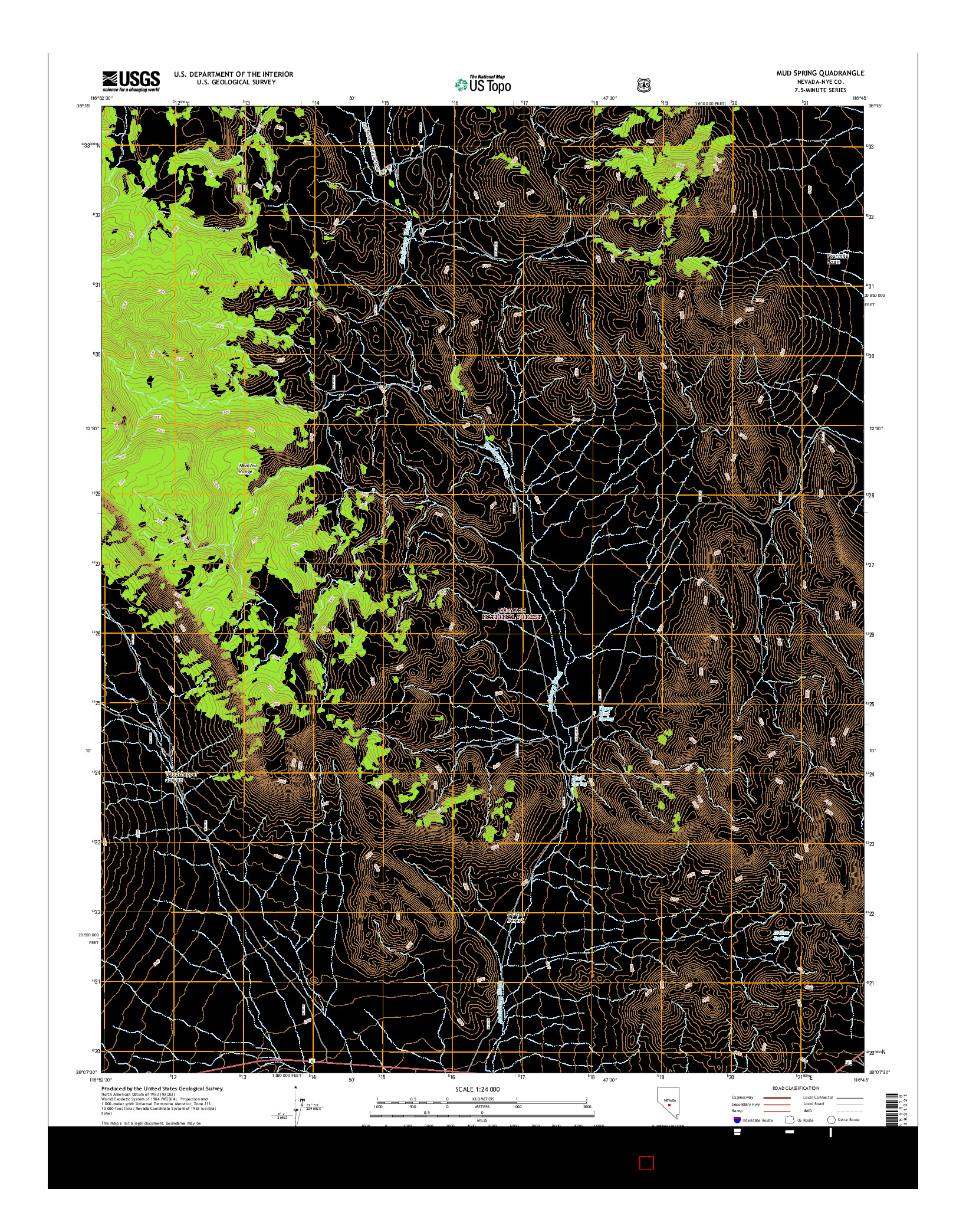 USGS US TOPO 7.5-MINUTE MAP FOR MUD SPRING, NV 2014