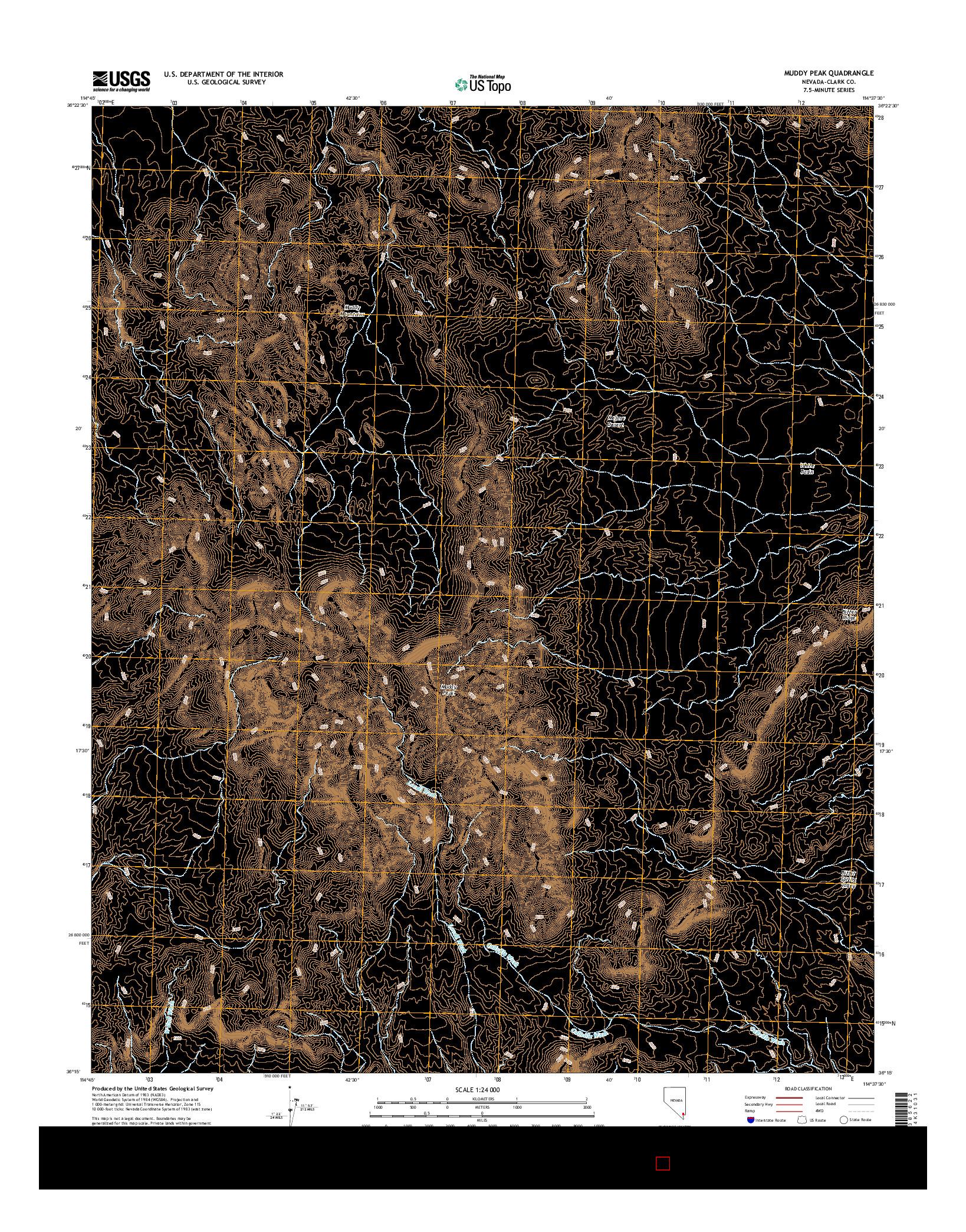 USGS US TOPO 7.5-MINUTE MAP FOR MUDDY PEAK, NV 2014