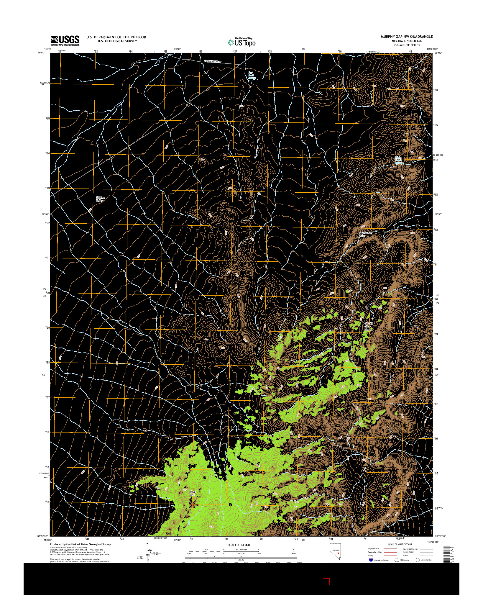 USGS US TOPO 7.5-MINUTE MAP FOR MURPHY GAP NW, NV 2014