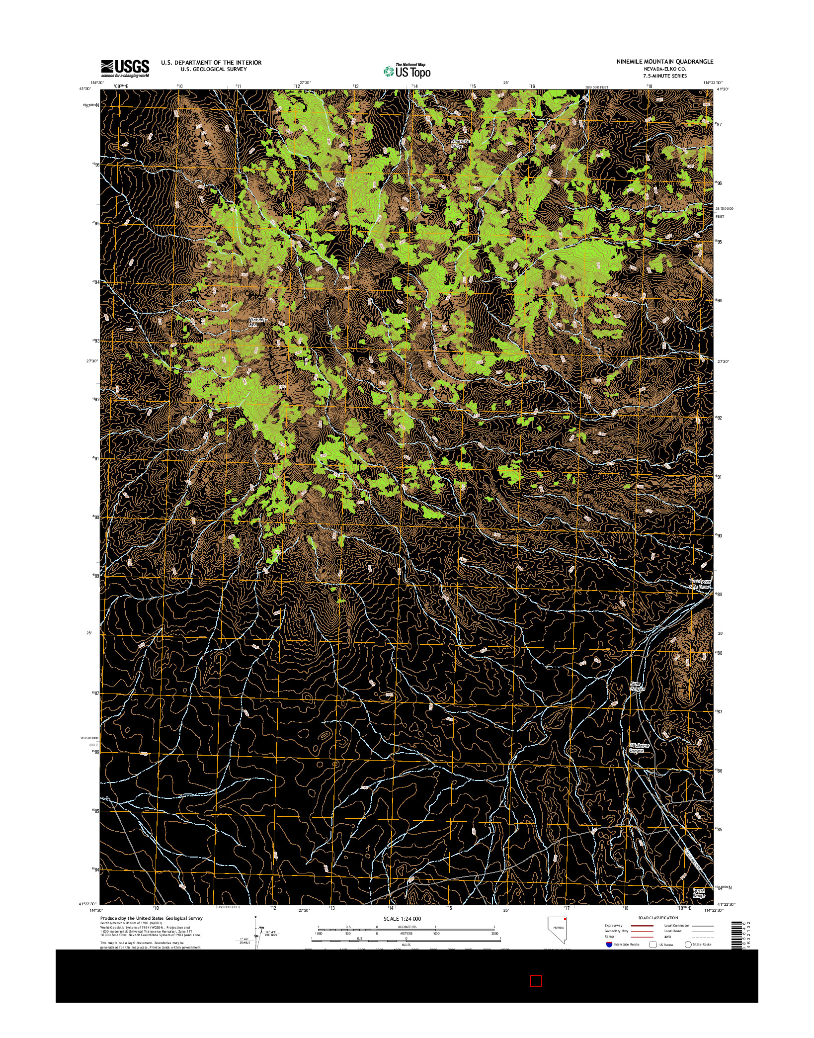 USGS US TOPO 7.5-MINUTE MAP FOR NINEMILE MOUNTAIN, NV 2014