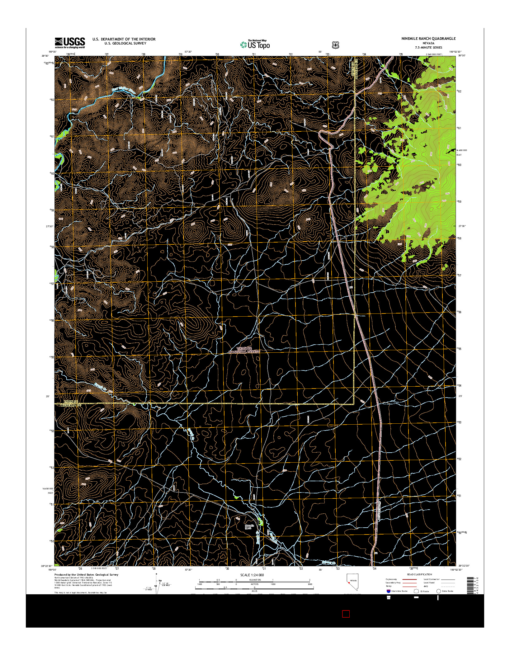 USGS US TOPO 7.5-MINUTE MAP FOR NINEMILE RANCH, NV 2014