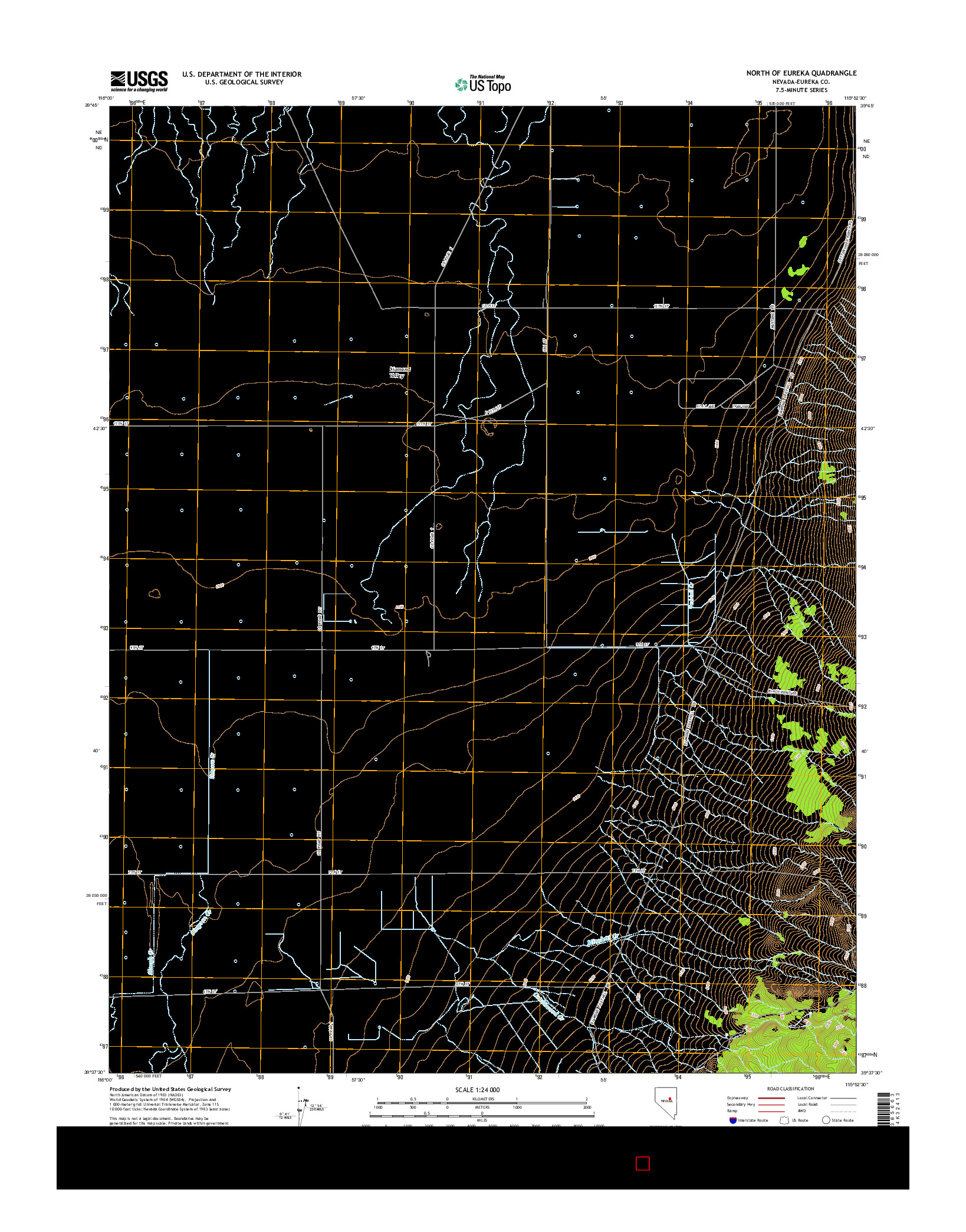 USGS US TOPO 7.5-MINUTE MAP FOR NORTH OF EUREKA, NV 2014