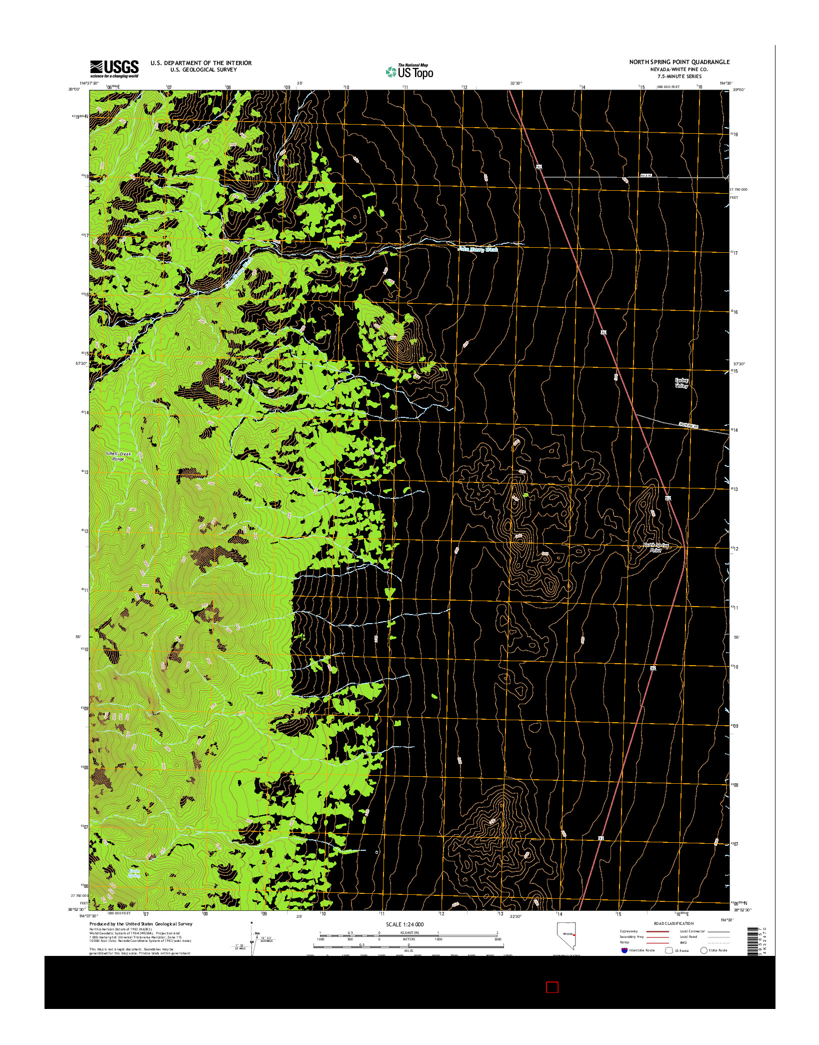 USGS US TOPO 7.5-MINUTE MAP FOR NORTH SPRING POINT, NV 2014