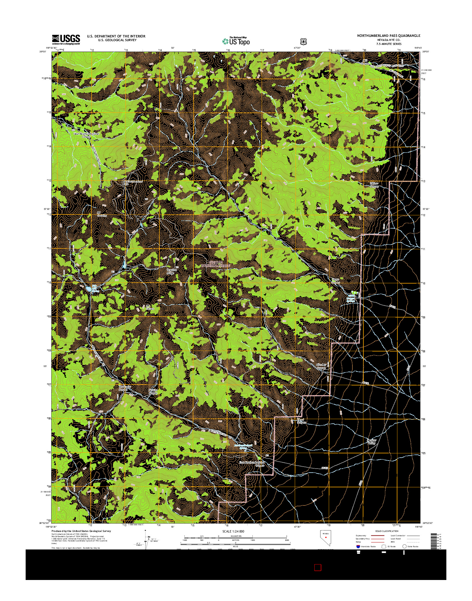 USGS US TOPO 7.5-MINUTE MAP FOR NORTHUMBERLAND PASS, NV 2014