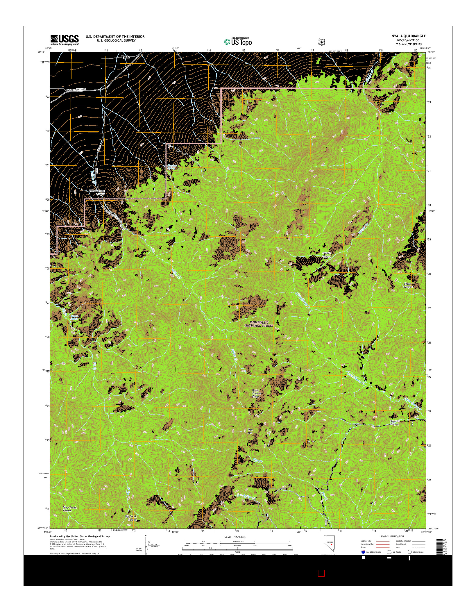 USGS US TOPO 7.5-MINUTE MAP FOR NYALA, NV 2014