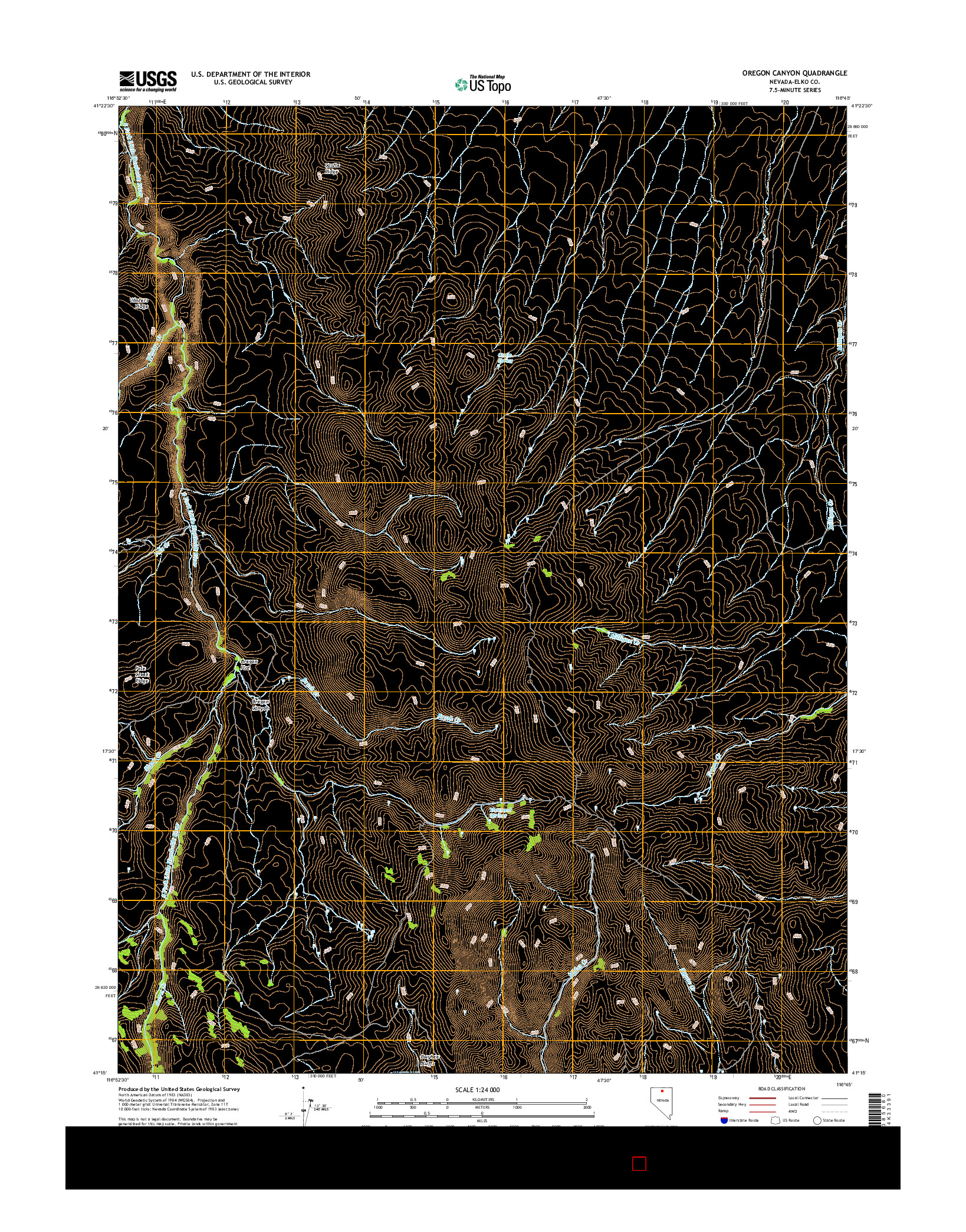 USGS US TOPO 7.5-MINUTE MAP FOR OREGON CANYON, NV 2014