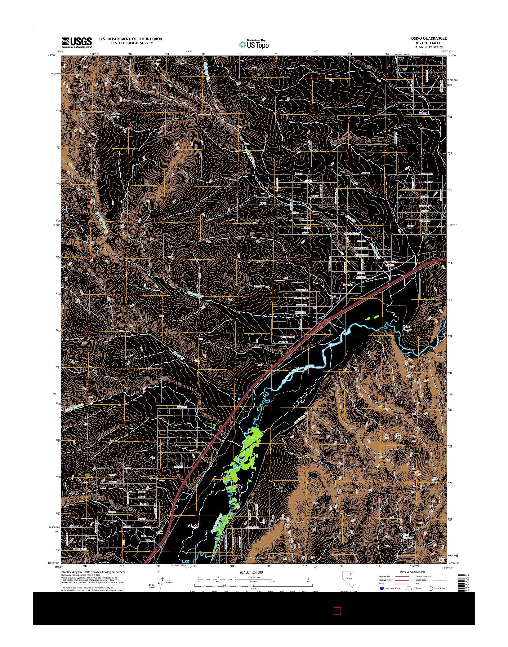 USGS US TOPO 7.5-MINUTE MAP FOR OSINO, NV 2014
