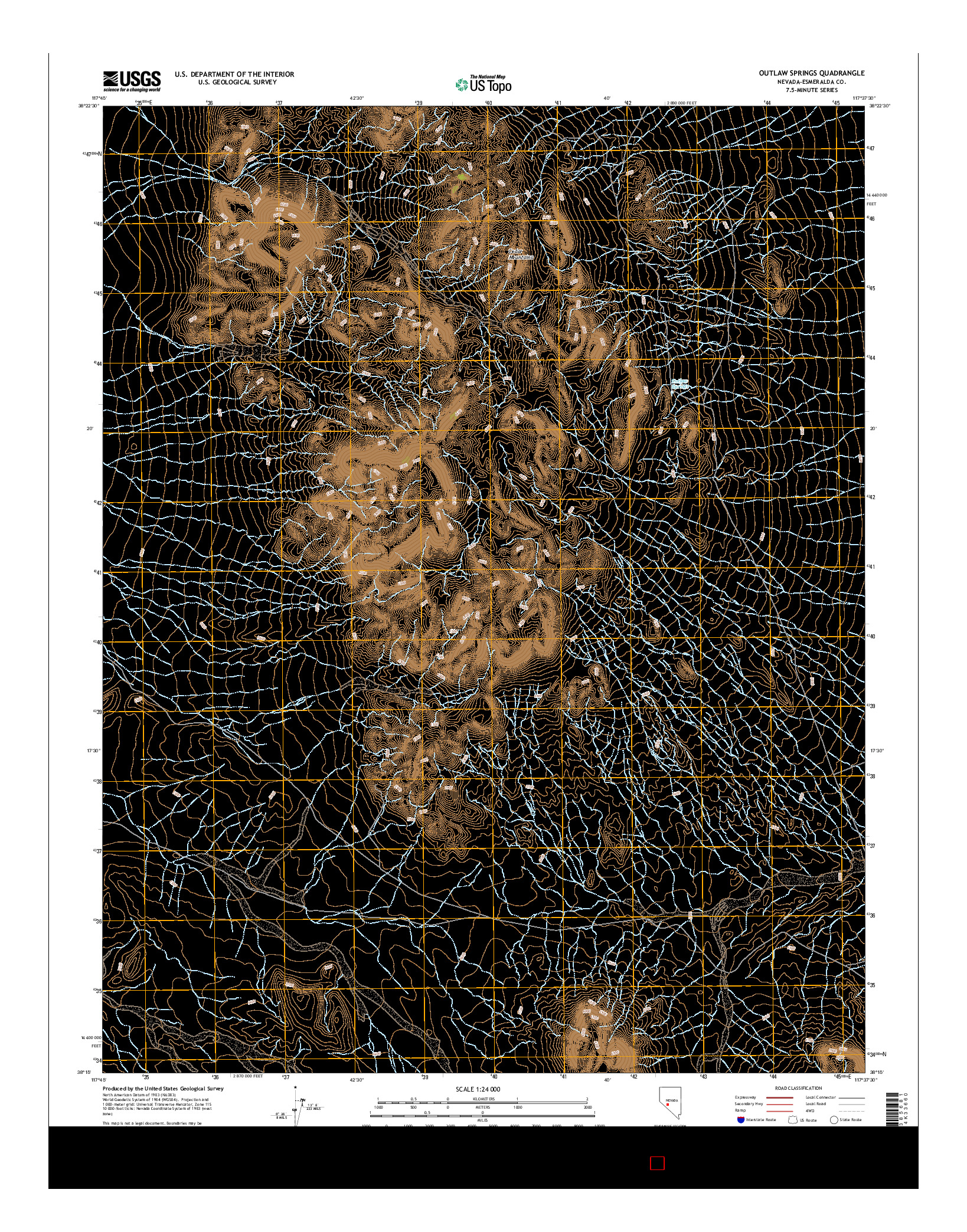 USGS US TOPO 7.5-MINUTE MAP FOR OUTLAW SPRINGS, NV 2014