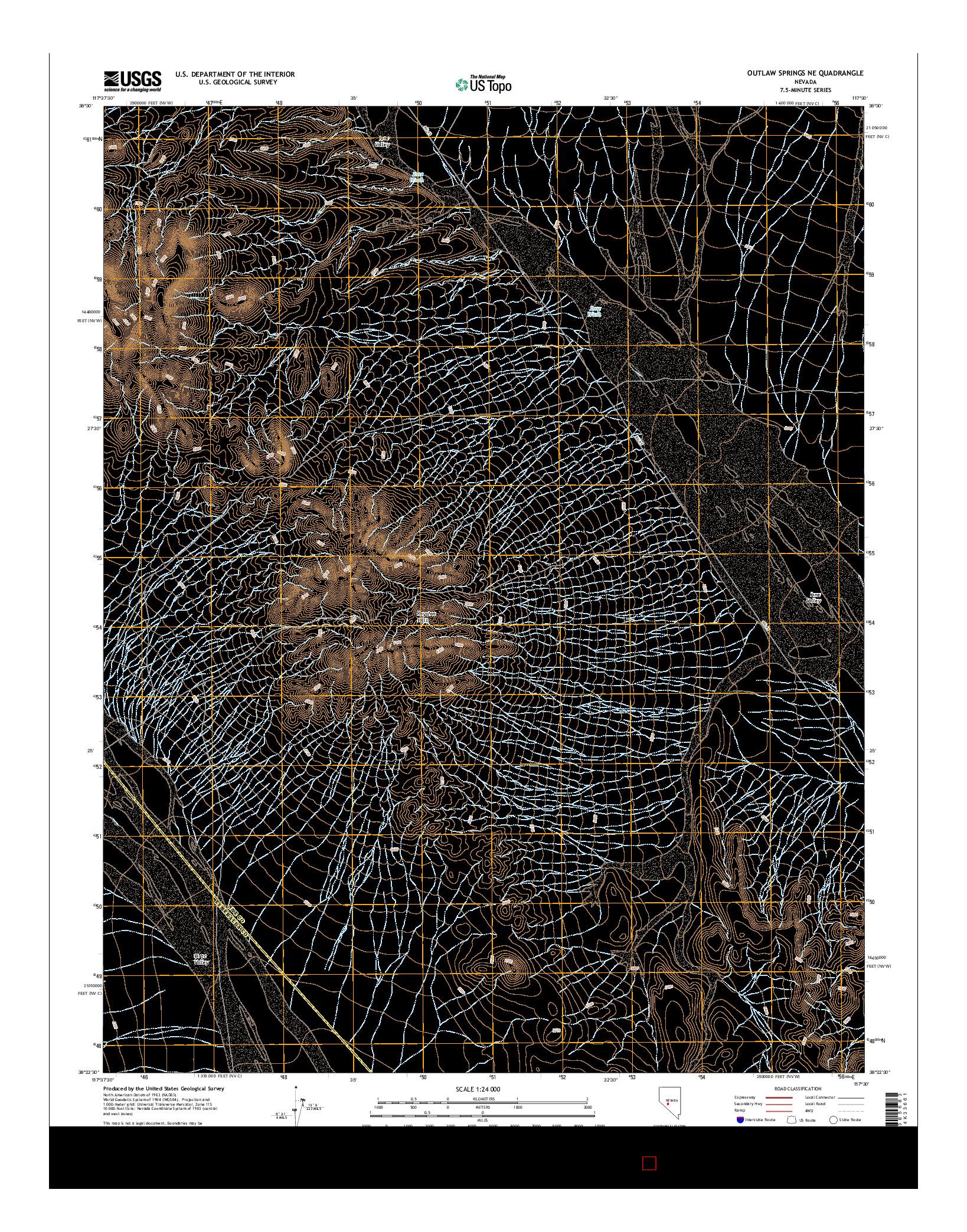 USGS US TOPO 7.5-MINUTE MAP FOR OUTLAW SPRINGS NE, NV 2014
